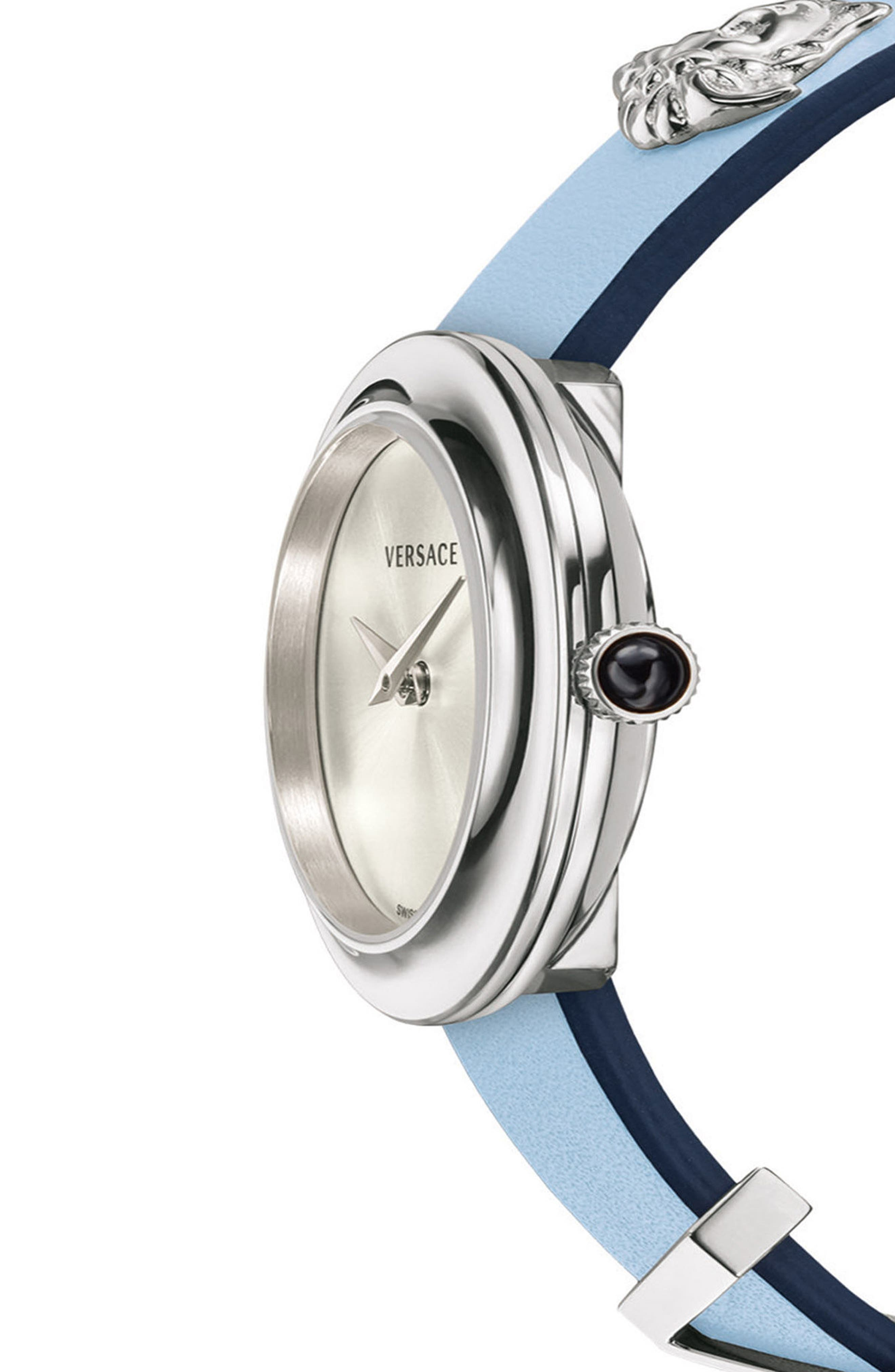VERSACE, V-Flare Double Wrap Leather Strap Watch, 28mm, Alternate thumbnail 3, color, BLUE/ SILVER/ GOLD