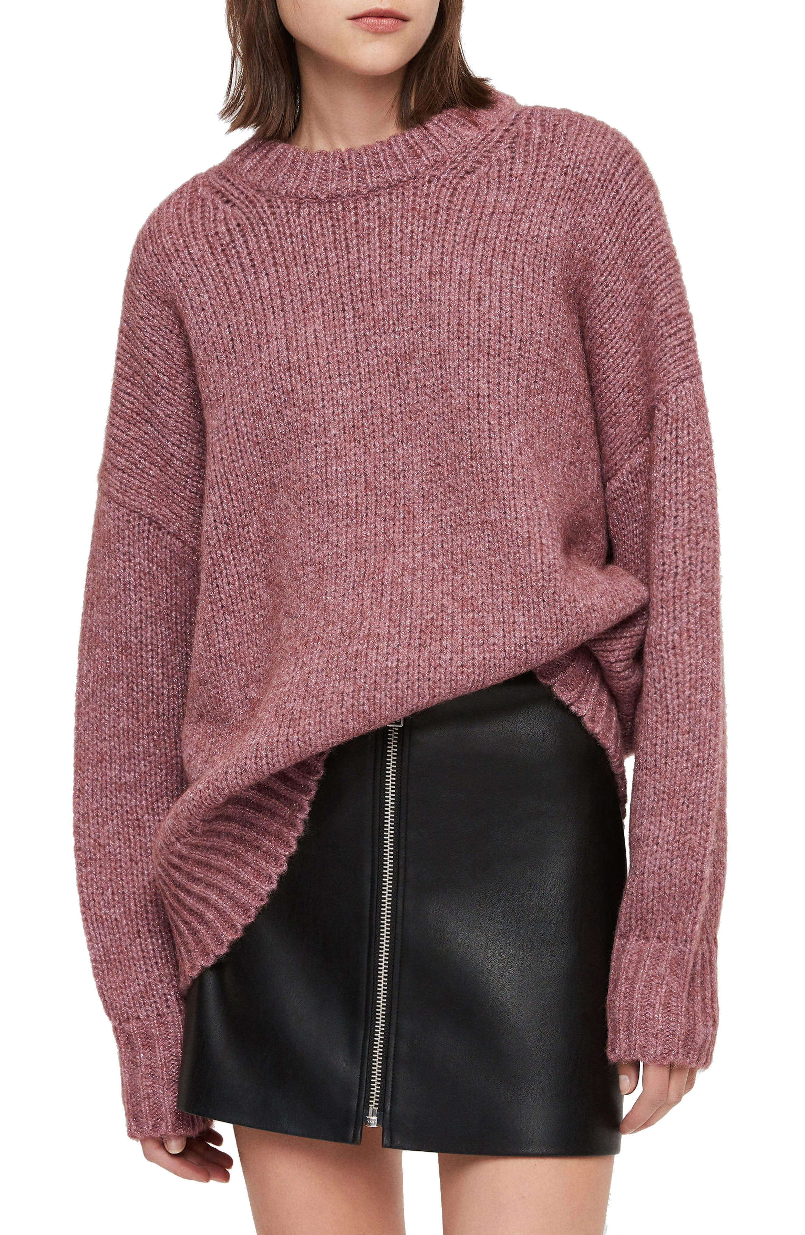 ALLSAINTS, Gemini Metallic Knit Sweater, Main thumbnail 1, color, 653