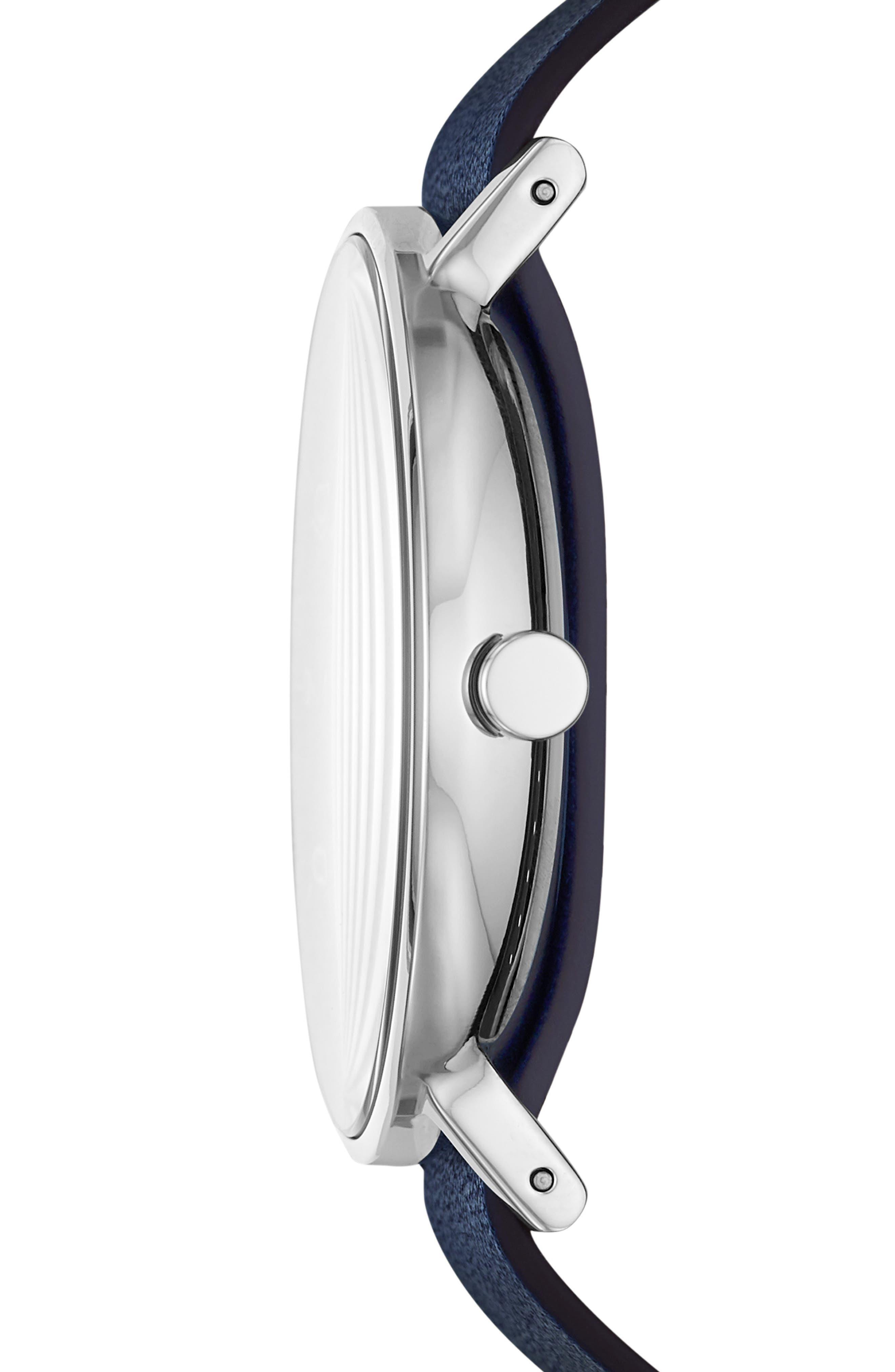 SKAGEN, Aaren Reversible Leather Strap Watch, 40mm, Alternate thumbnail 2, color, BLUE/ SILVER