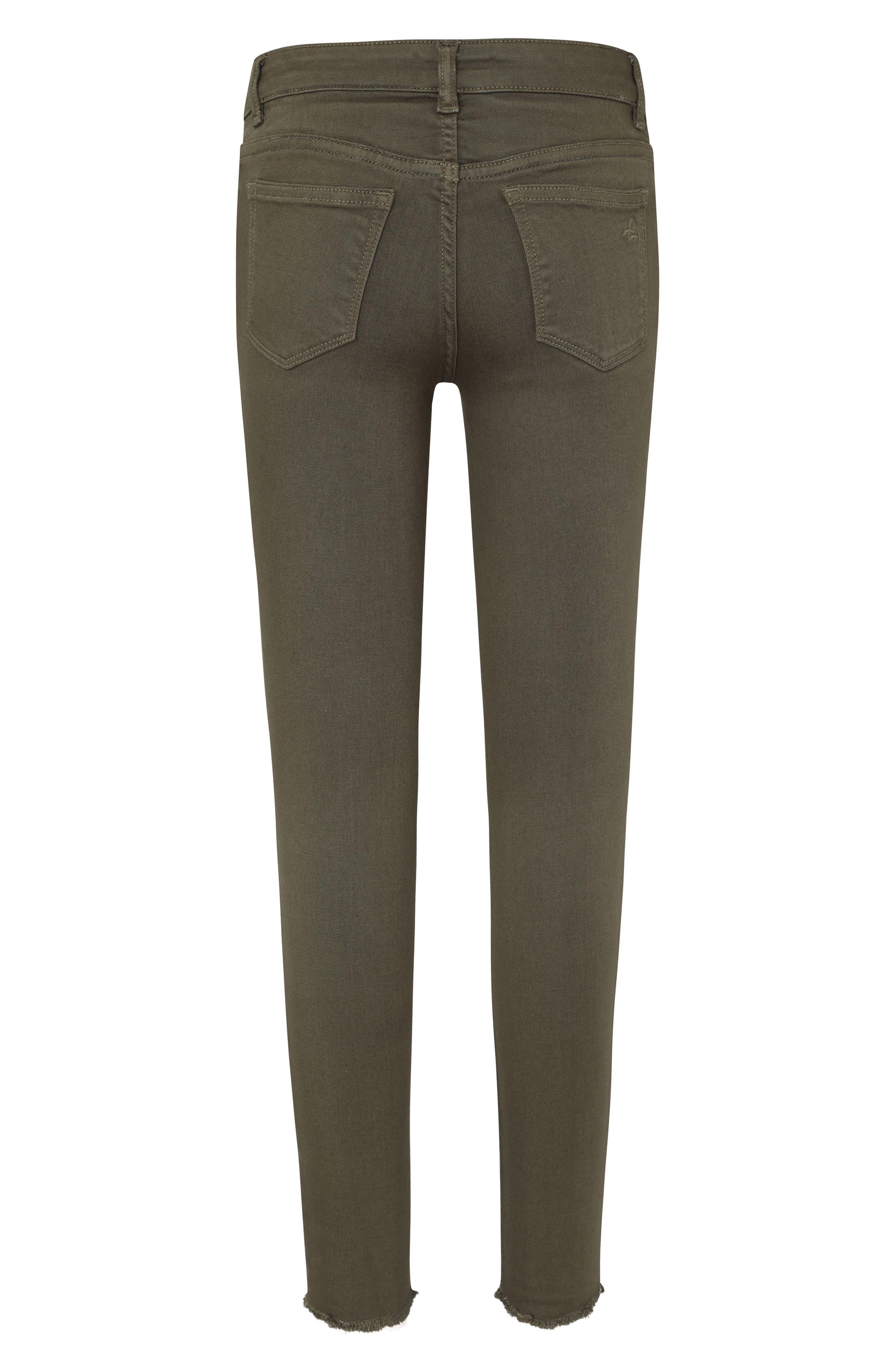 DL1961, Raw Hem Skinny Jeans, Alternate thumbnail 2, color, CAMO GREEN
