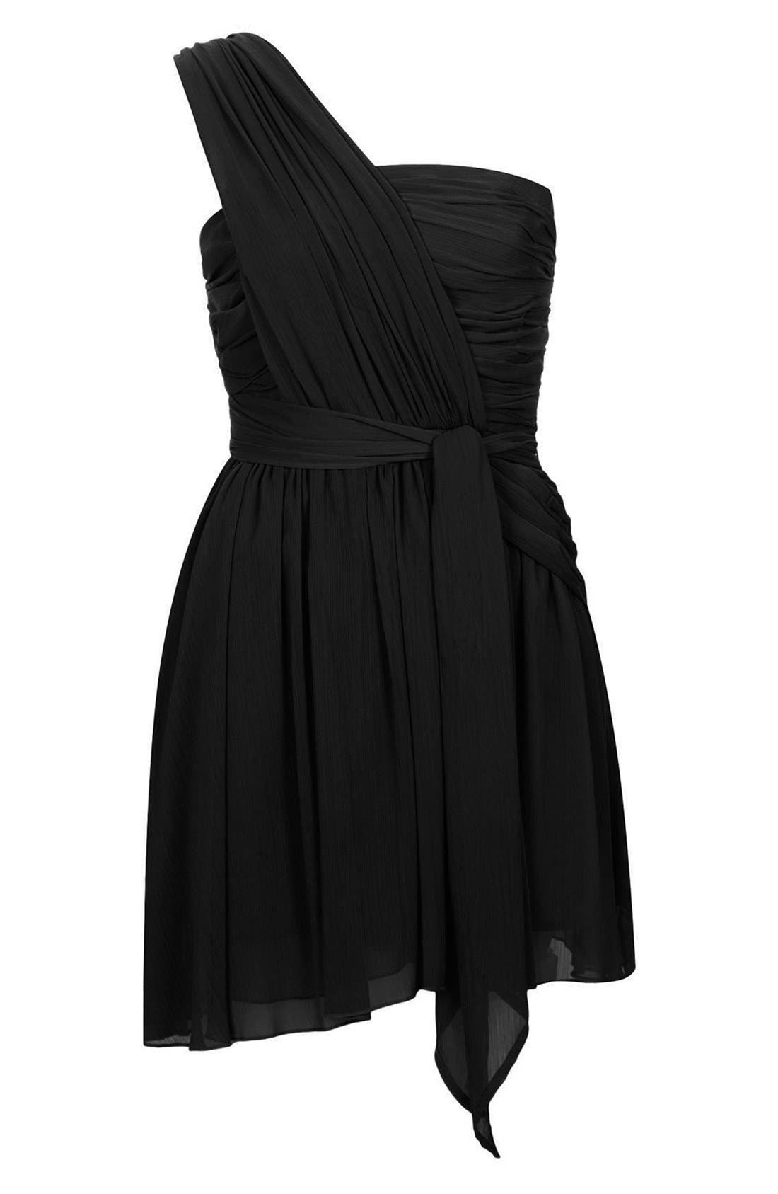 TOPSHOP, Kate Moss for Topshop One-Shoulder Chiffon Dress, Alternate thumbnail 5, color, 001