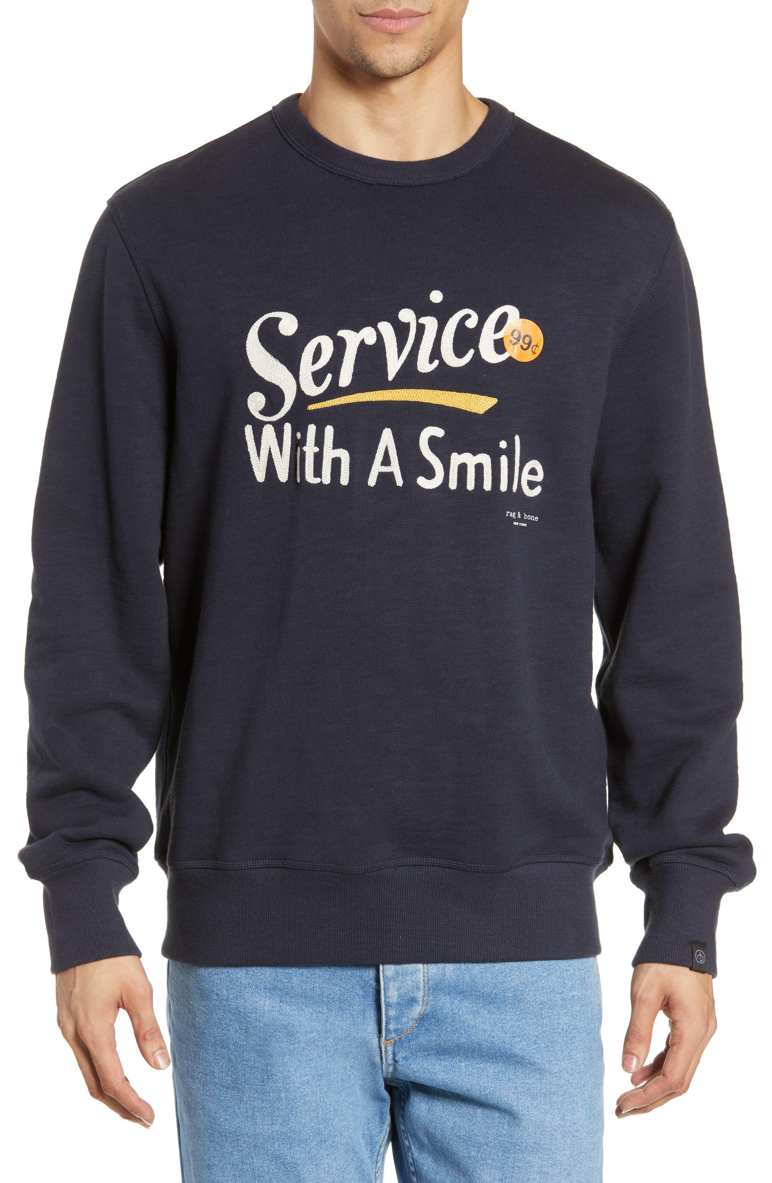 RAG & BONE, Graphic Embroidered Sweatshirt, Main thumbnail 1, color, NAVY