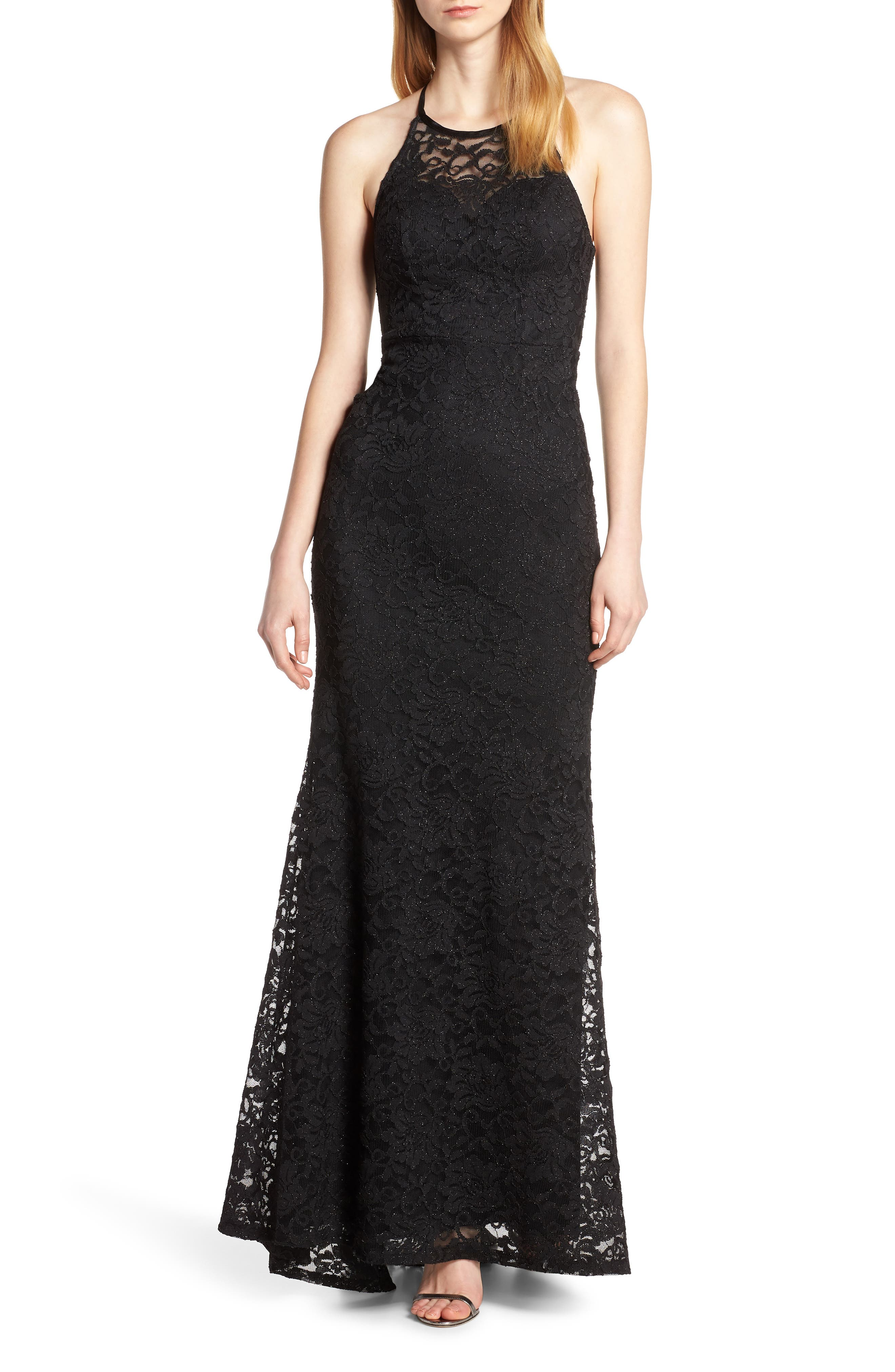 Sequin Hearts Halter Neck Glitter Lace Evening Dress
