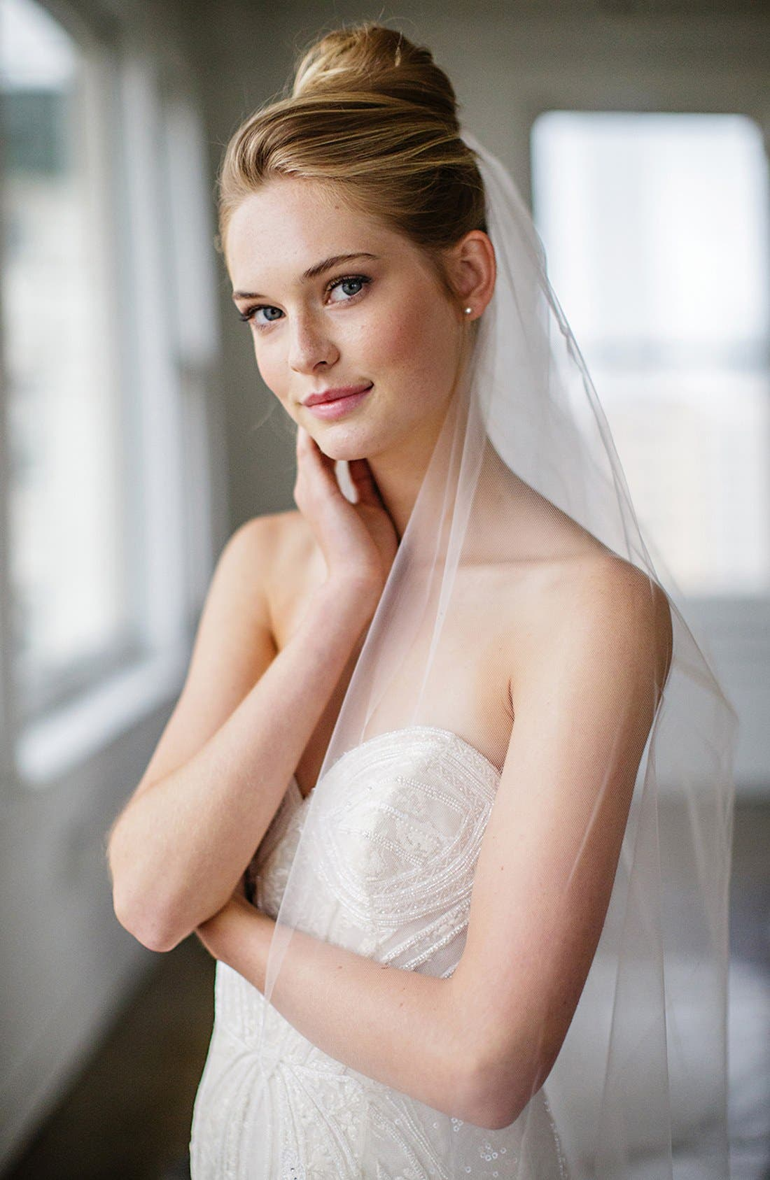 BRIDES & HAIRPINS, 'Christina' Tulle Veil, Alternate thumbnail 3, color, WHITE