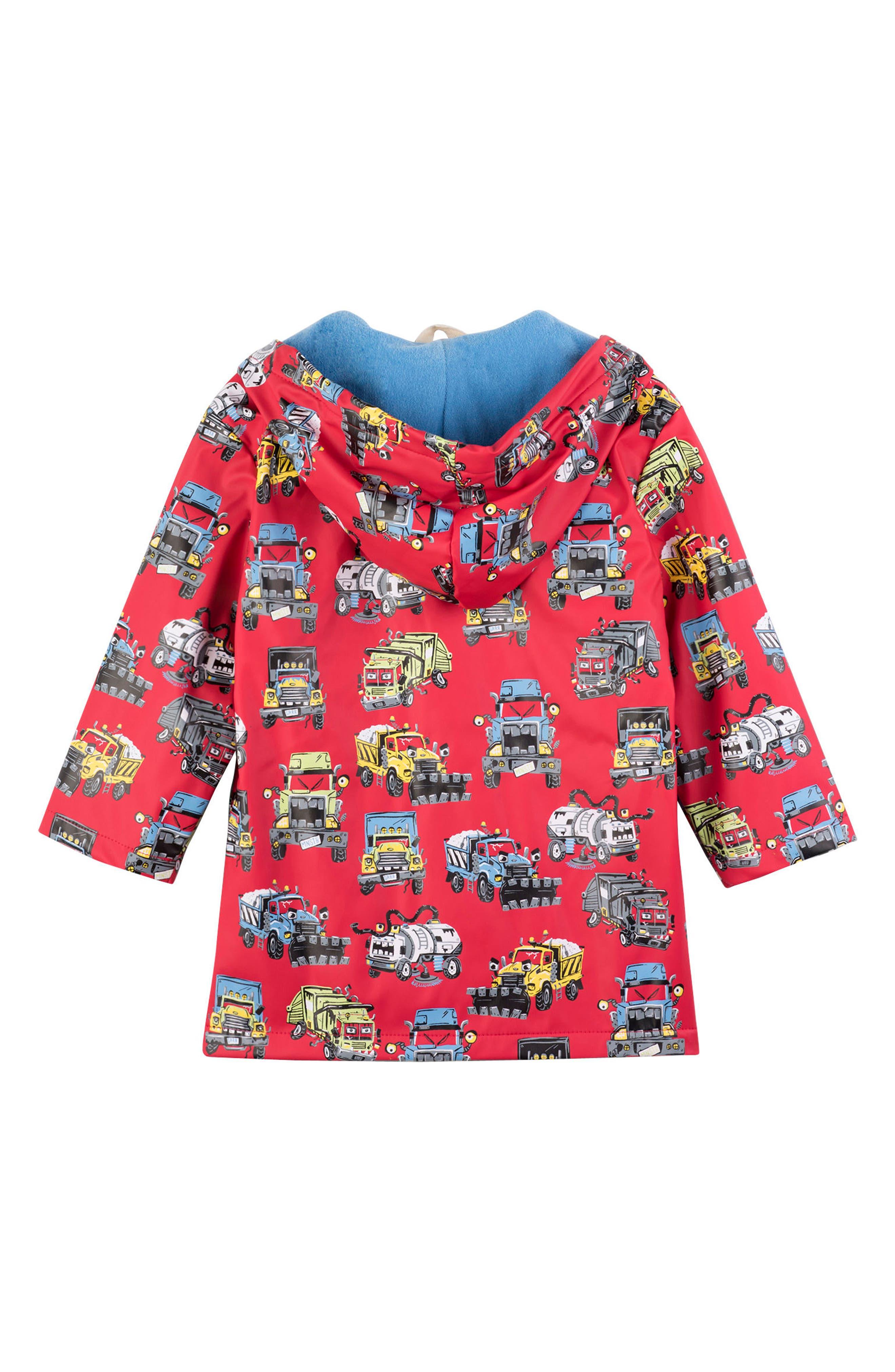 HATLEY, Monster Trucks Hooded Waterproof Raincoat, Alternate thumbnail 2, color, 600