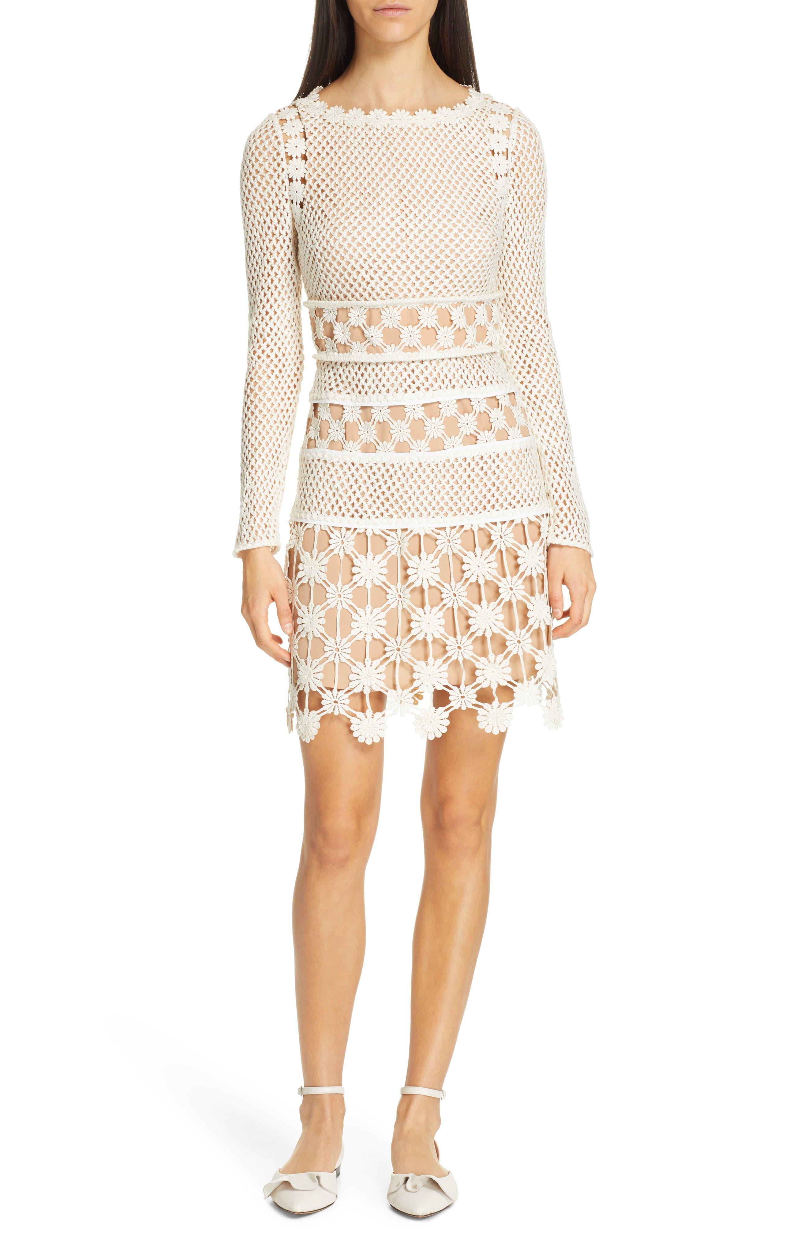 Self-Portrait Long Sleeve 3D Floral Crochet Lace Minidress, Ivory