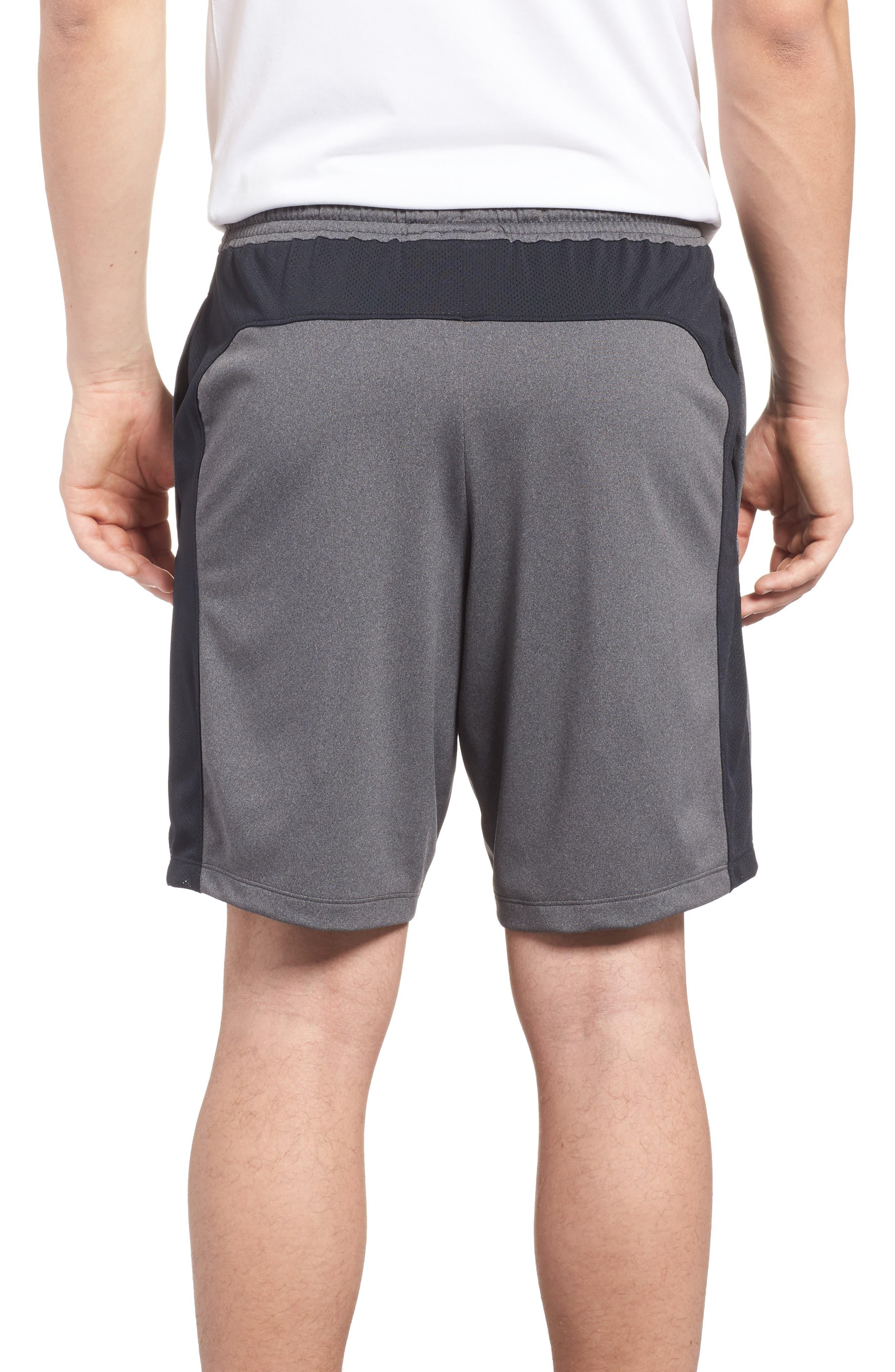 UNDER ARMOUR, Raid 2.0 Classic Fit Shorts, Alternate thumbnail 2, color, GRAPHITE / BLACK