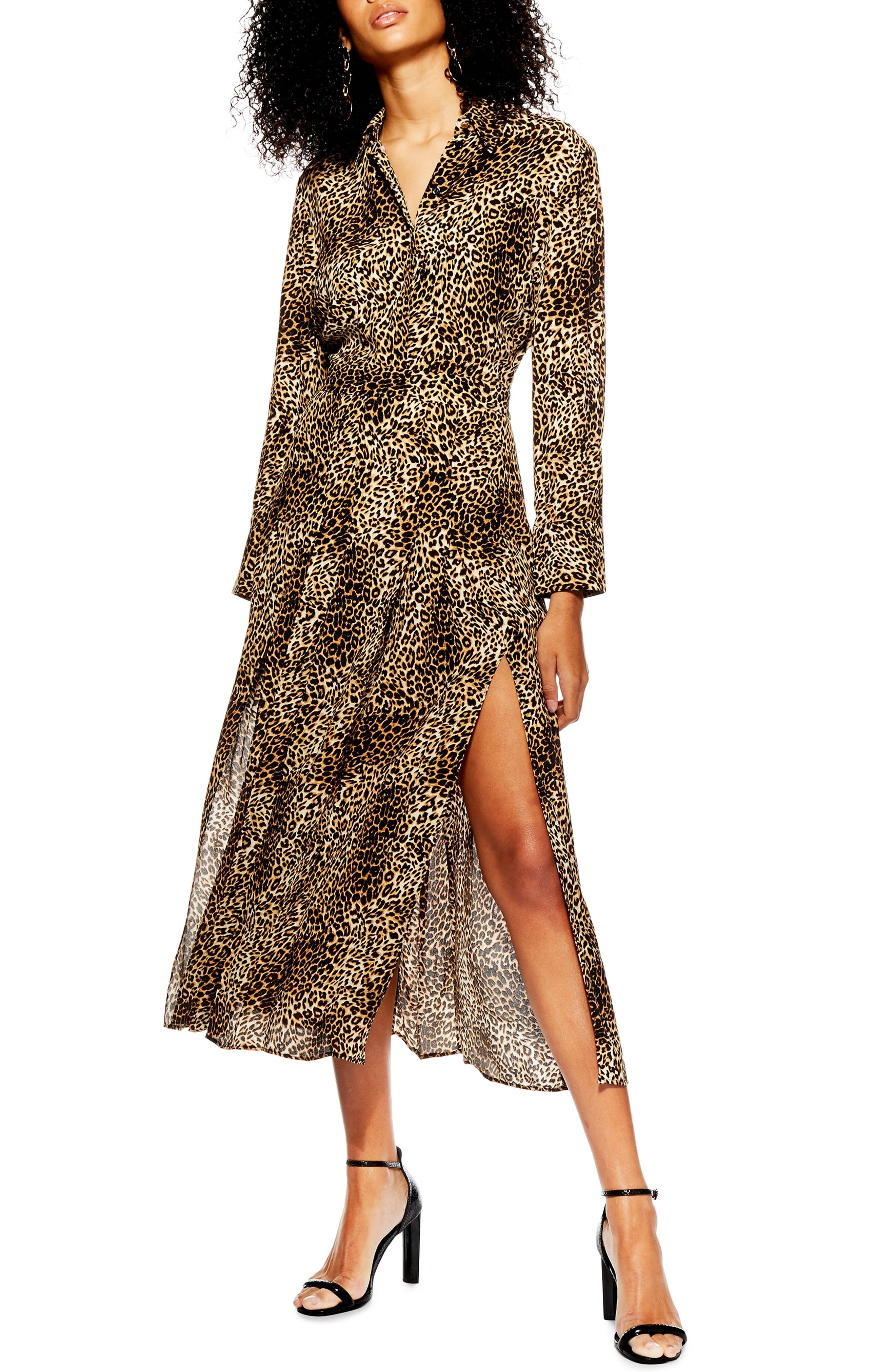 TOPSHOP Print Pleated Shirtdress, Main, color, BROWN MULTI