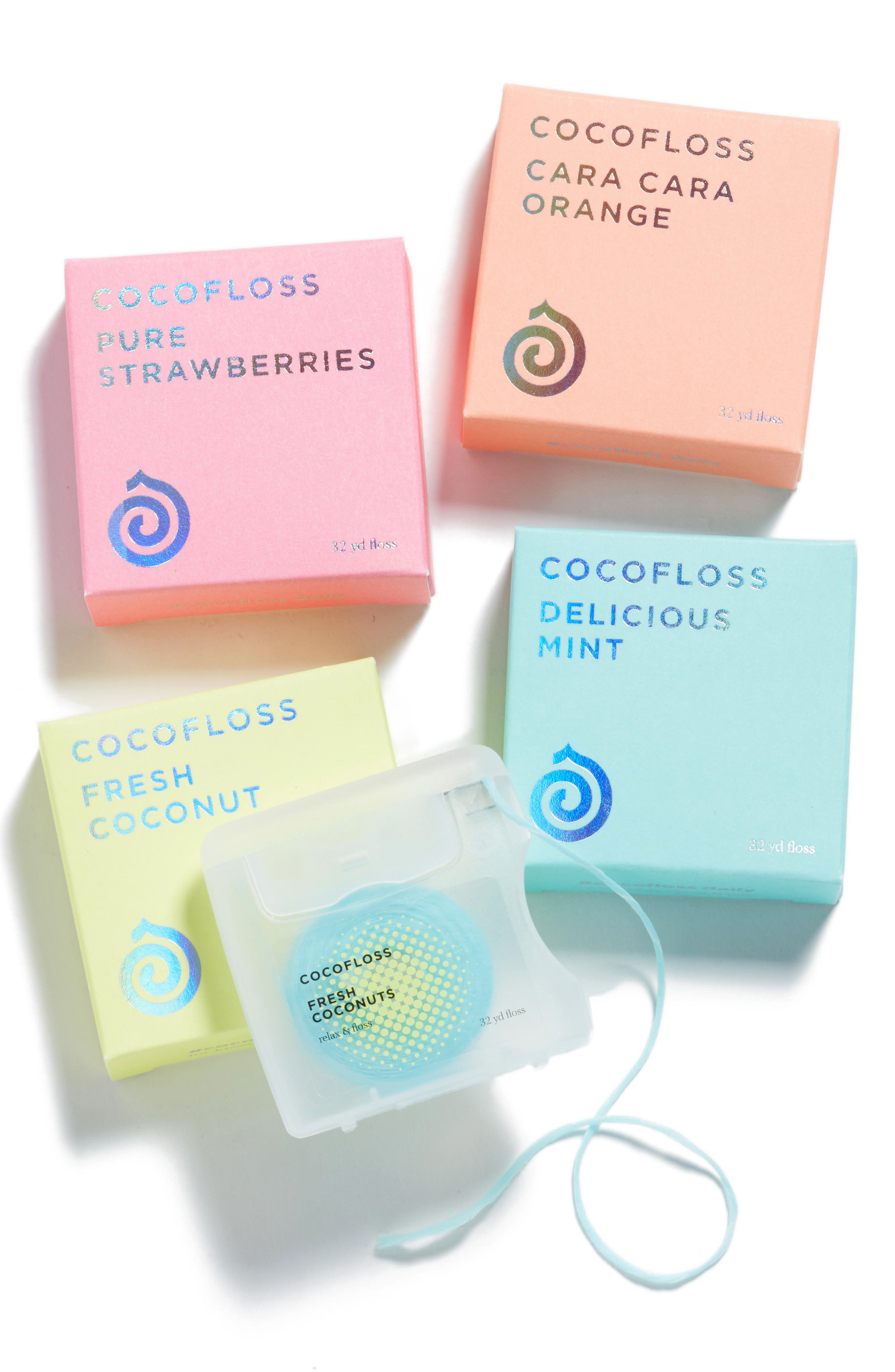 COCOFLOSS, 4-Flavor Floss Set, Main thumbnail 1, color, 960