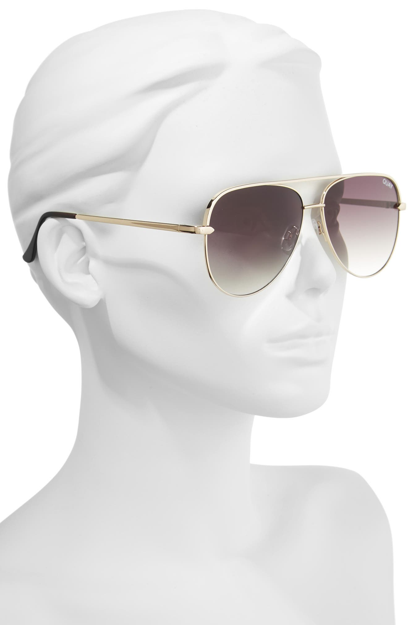 QUAY AUSTRALIA, x Desi Perkins Sahara 60mm Aviator Sunglasses, Alternate thumbnail 2, color, GOLD/ SMOKE