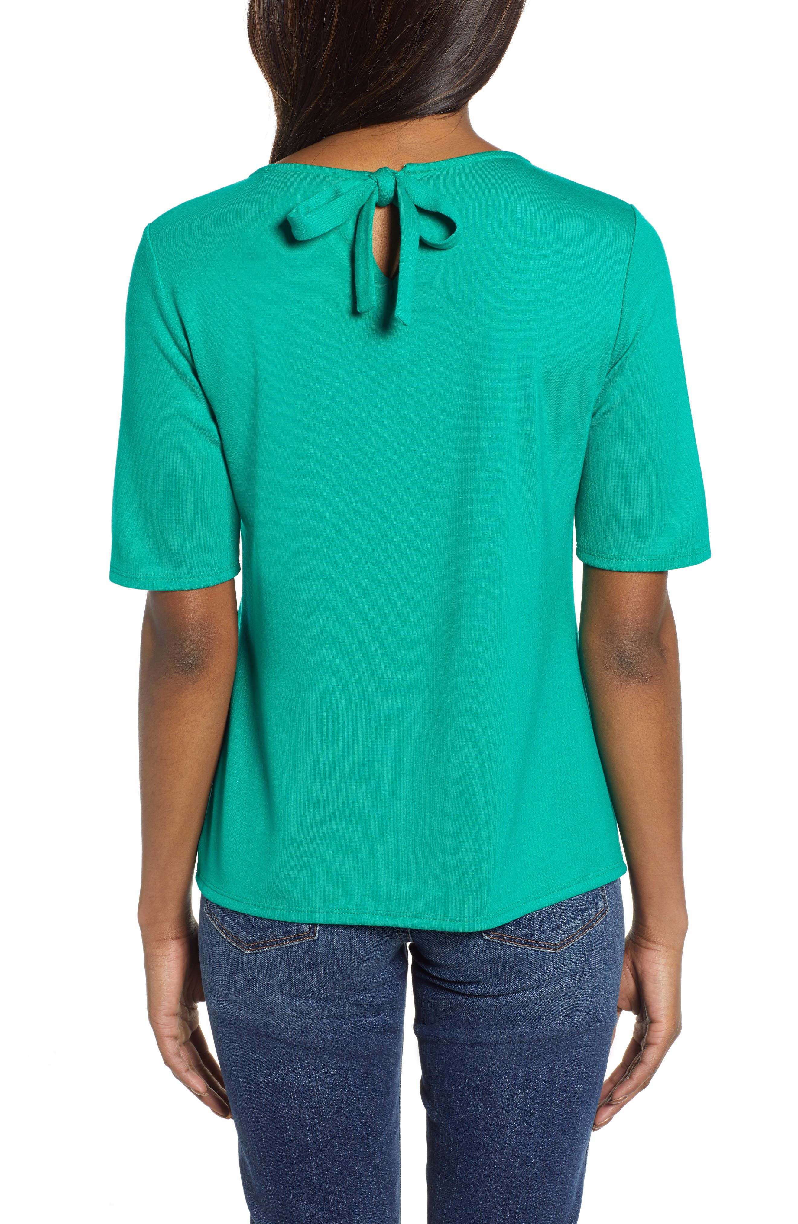 GIBSON, x International Women's Day Thamarr Keyhole Tie Back Ponte Top, Alternate thumbnail 2, color, GREEN