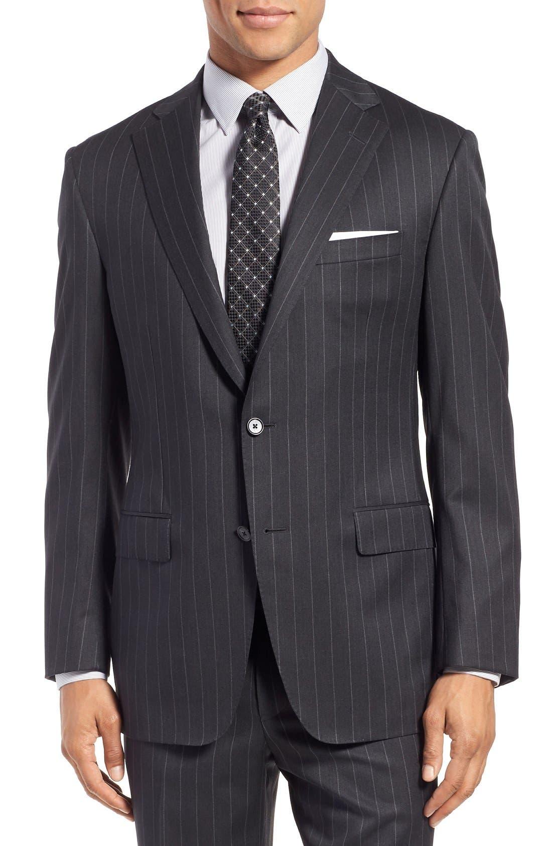 SAMUELSOHN, Classic Fit Stripe Wool Suit, Alternate thumbnail 4, color, 025