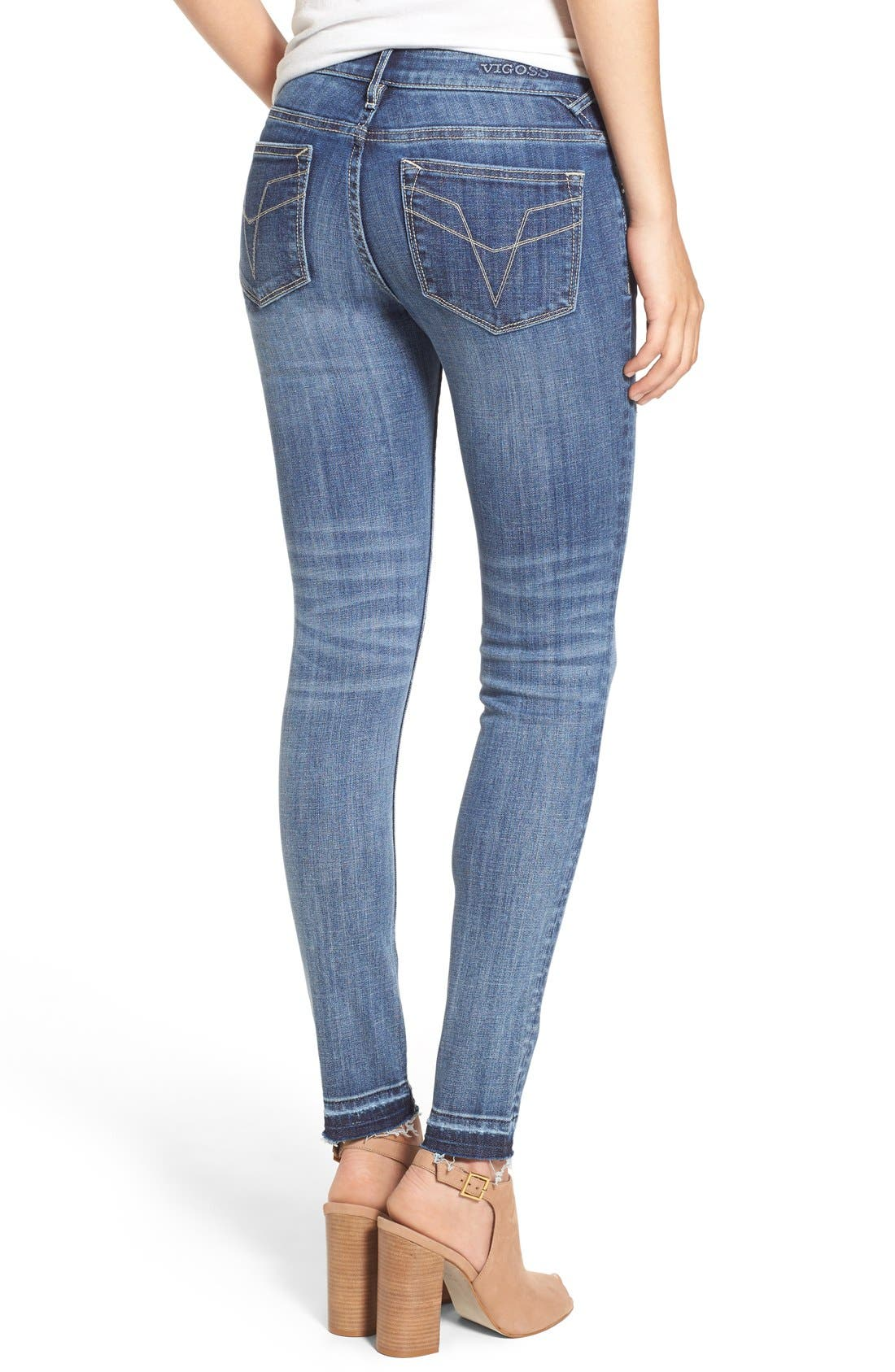 VIGOSS, 'Chelsea' Destroyed Skinny Jeans, Alternate thumbnail 6, color, 400