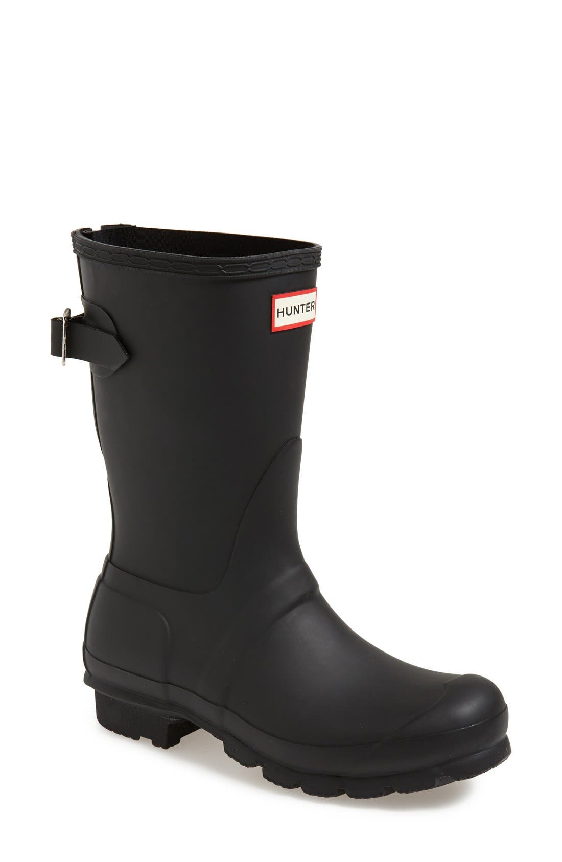 HUNTER, Original Short Back Adjustable Waterproof Rain Boot, Main thumbnail 1, color, BLACK