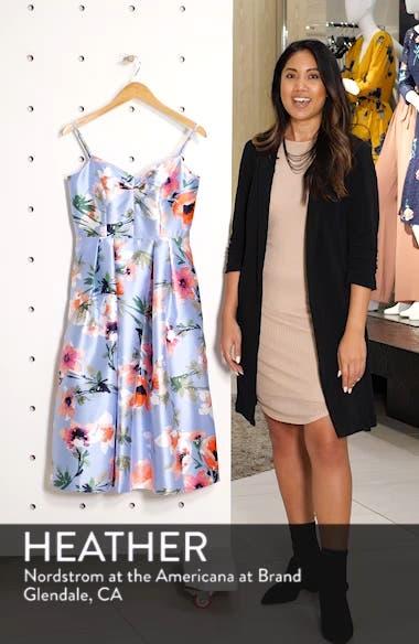 Floral Print Satin Cocktail Dress, sales video thumbnail