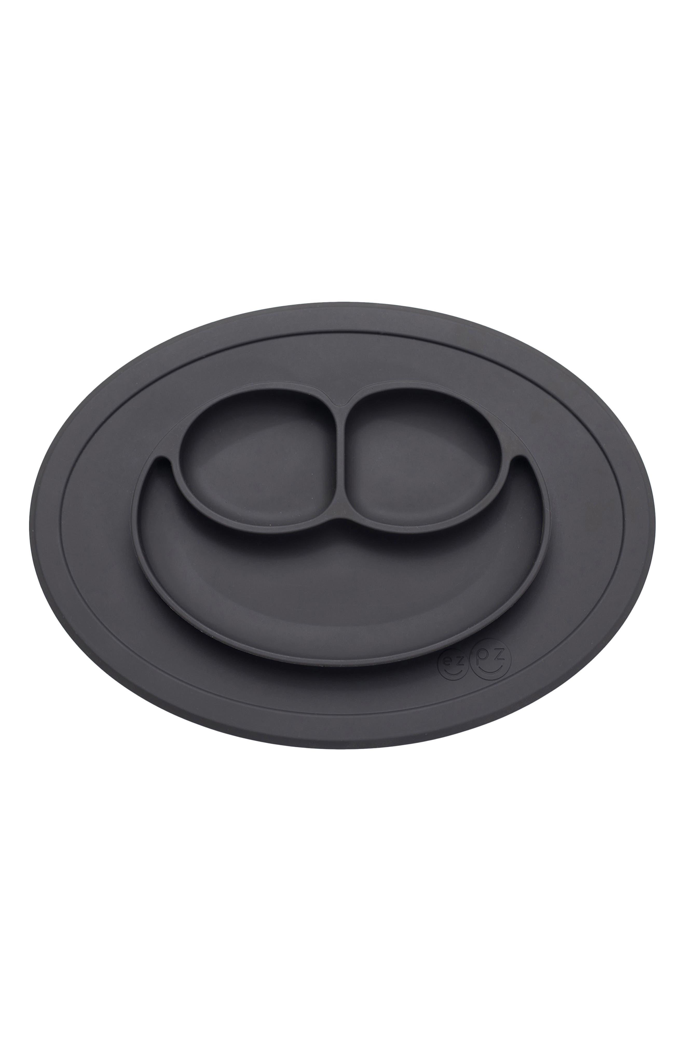 EZPZ, Monochrome Bapron & Mini Silicone Feeding Mat, Alternate thumbnail 2, color, BLACK/ WHITE