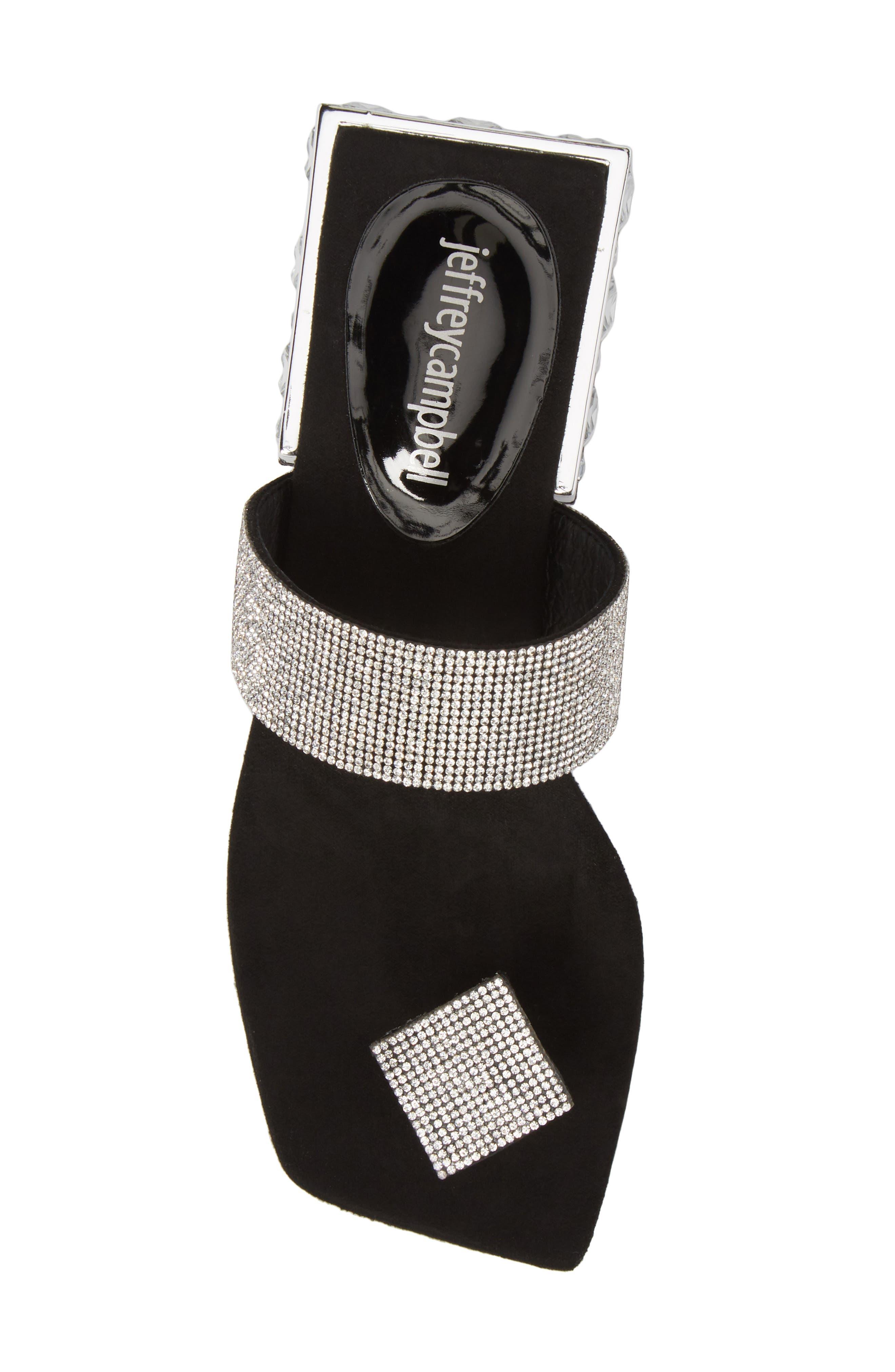JEFFREY CAMPBELL, Alise Embellished Sandal, Alternate thumbnail 5, color, BLACK SUEDE/ SILVER
