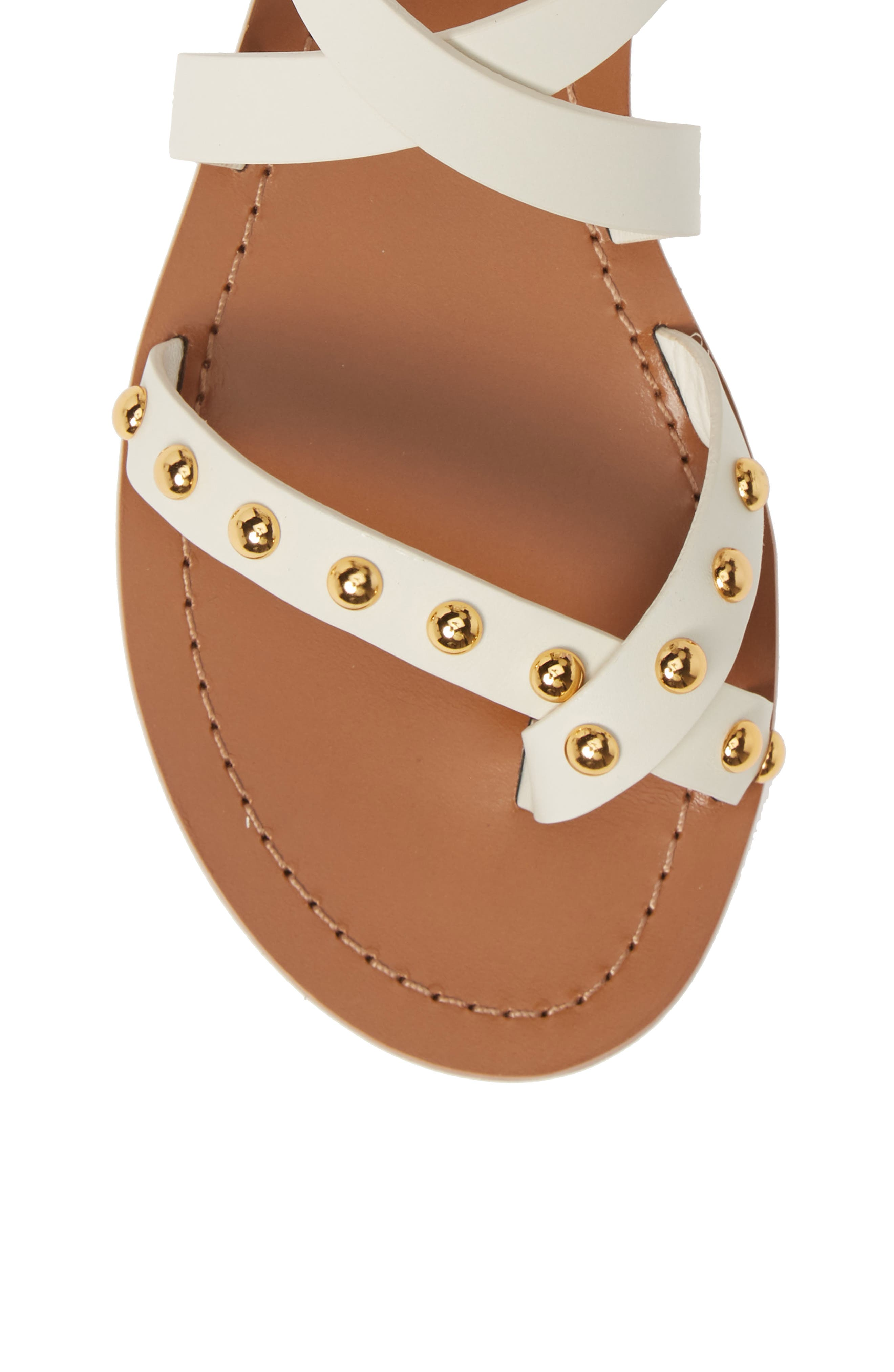 TORY BURCH, Ravello Studded Cage Sandal, Alternate thumbnail 5, color, PERFECT IVORY