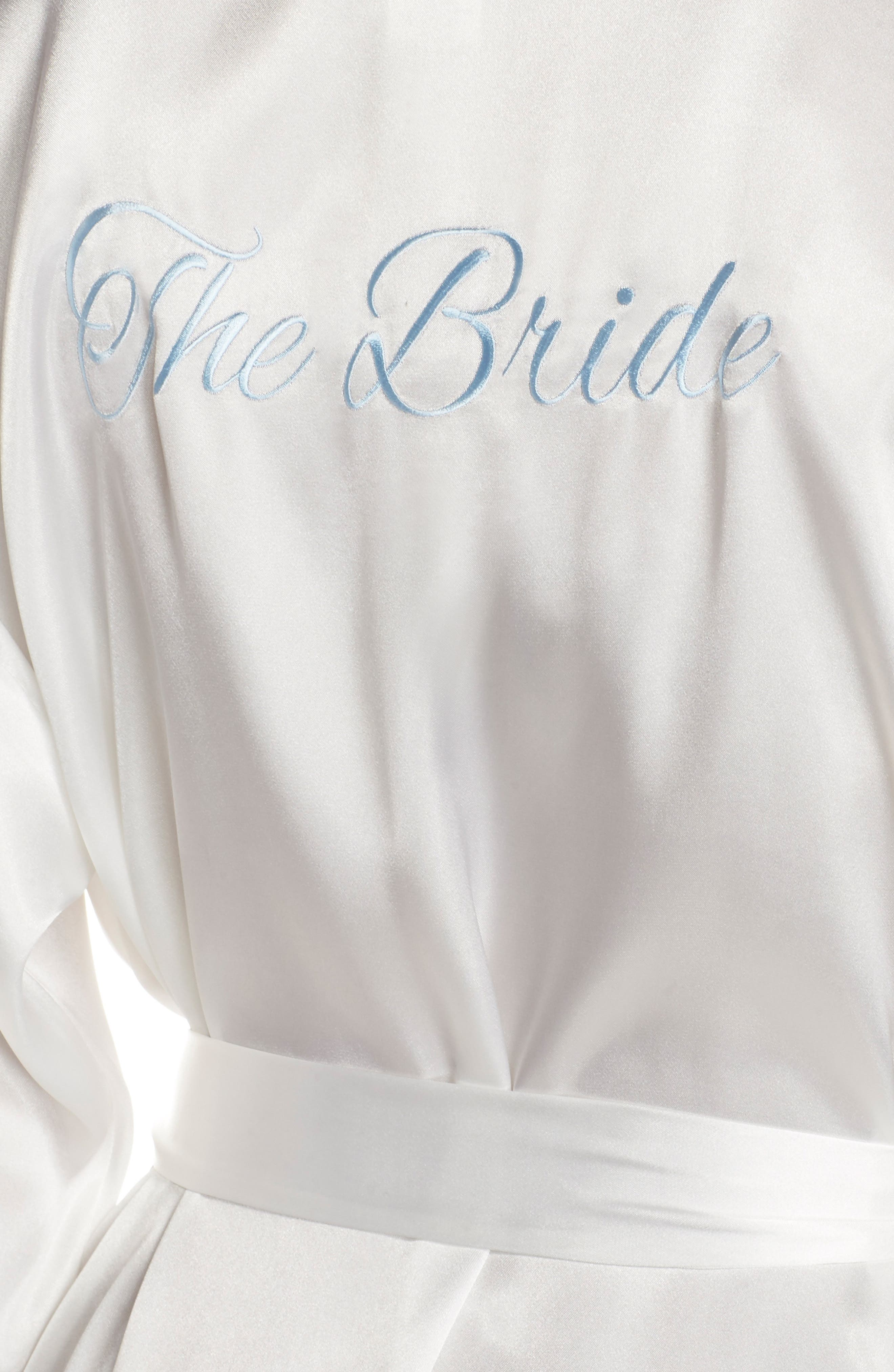 IN BLOOM BY JONQUIL, The Bride Short Satin Wrap, Alternate thumbnail 4, color, WHITE