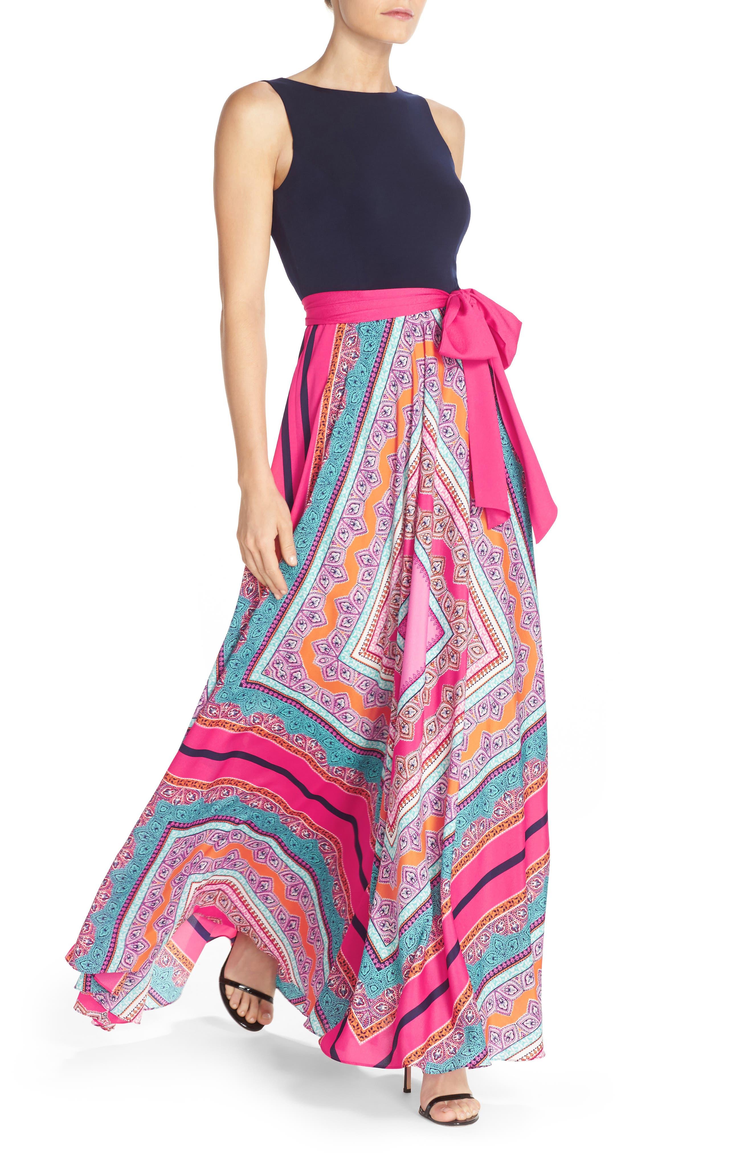 ELIZA J, Scarf Print Jersey & Crêpe de Chine Maxi Dress, Alternate thumbnail 5, color, PINK