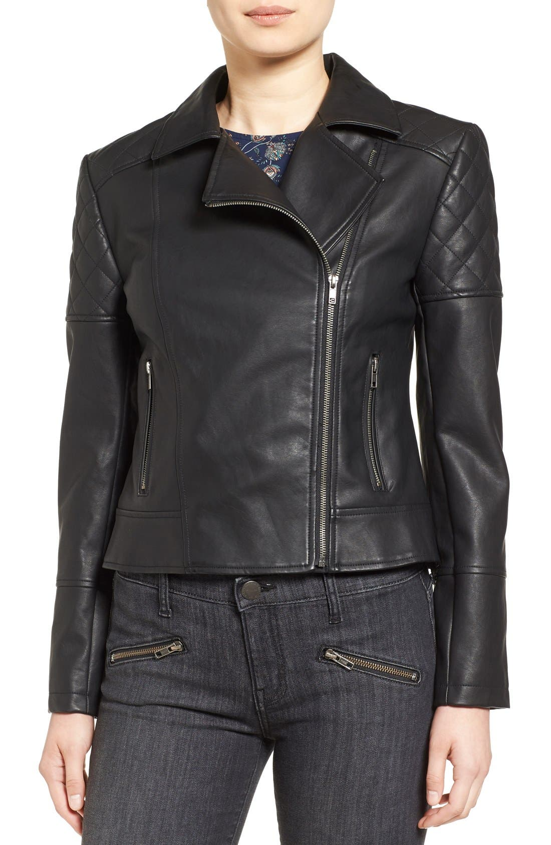 CUPCAKES AND CASHMERE, 'Breck' Faux Leather Moto Jacket, Alternate thumbnail 4, color, 001