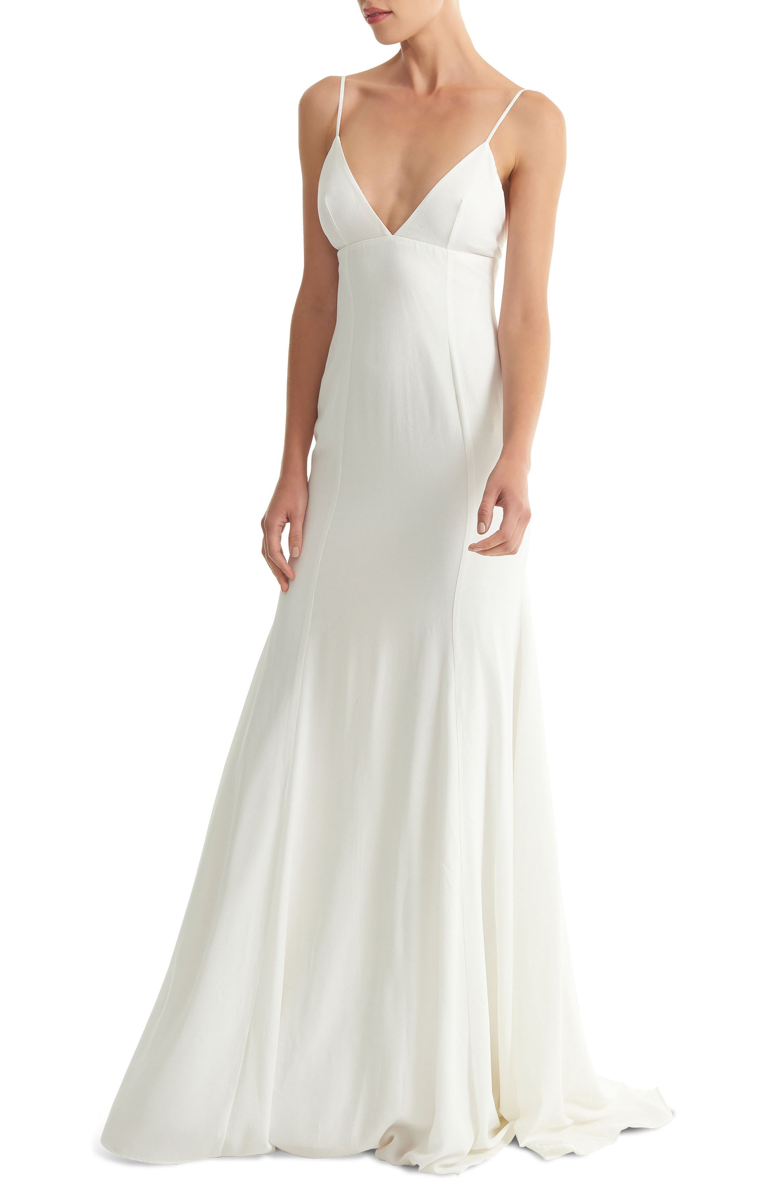 JOANNA AUGUST, Crosby Crepe Mermaid Gown, Main thumbnail 1, color, WHITE