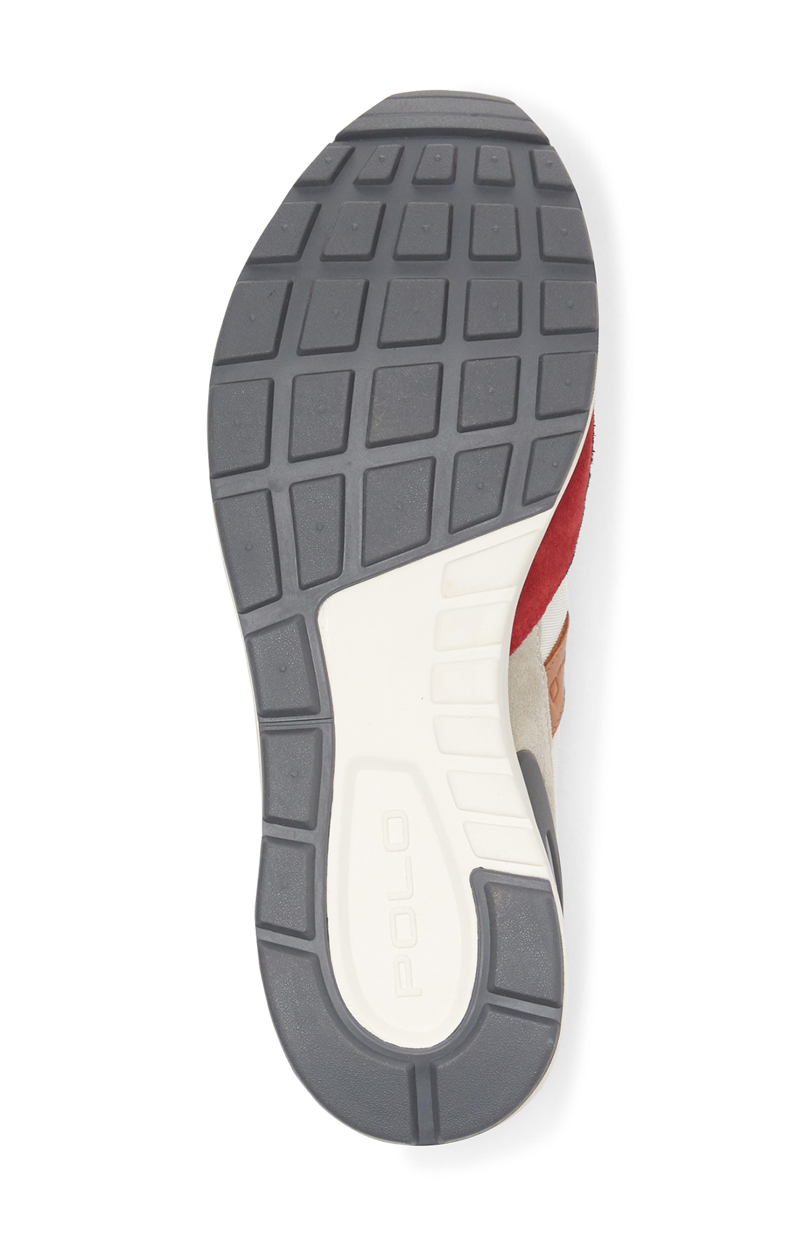 POLO RALPH LAUREN, Train 100 Retro Sneaker, Alternate thumbnail 4, color, RED NYLON/ SUEDE