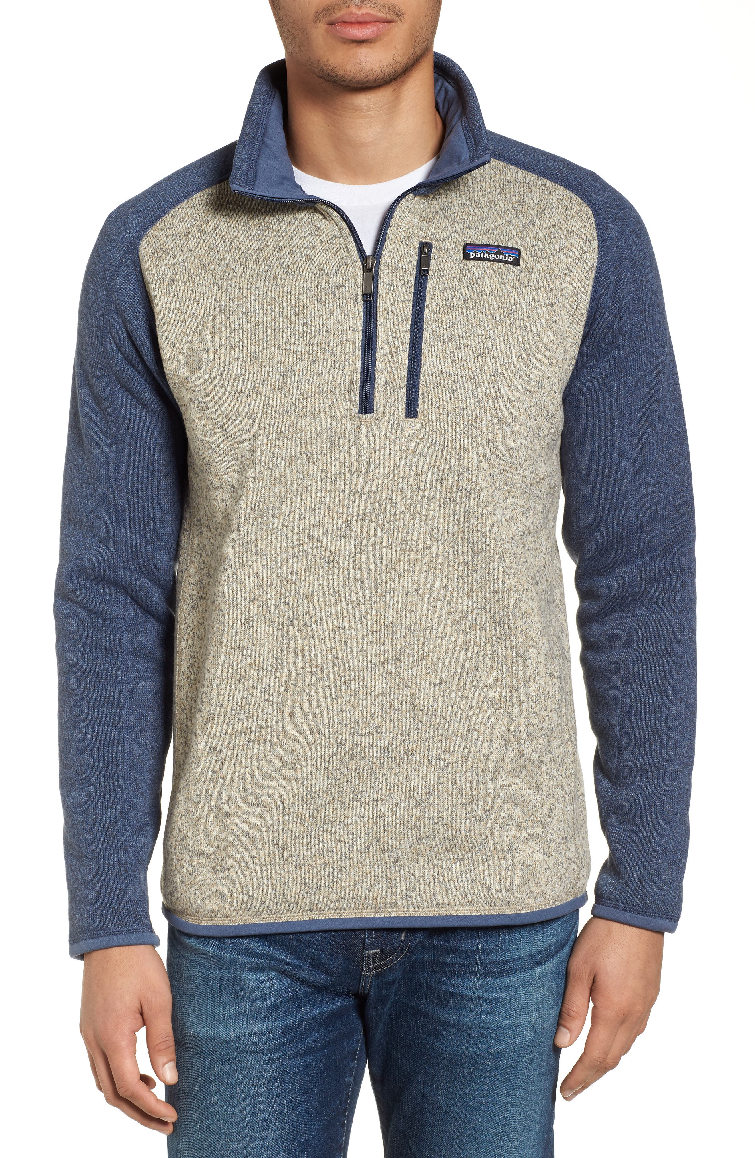 PATAGONIA, Better Sweater Quarter Zip Pullover, Main thumbnail 1, color, BLEACHED STONE W/DOLOMITE BLUE