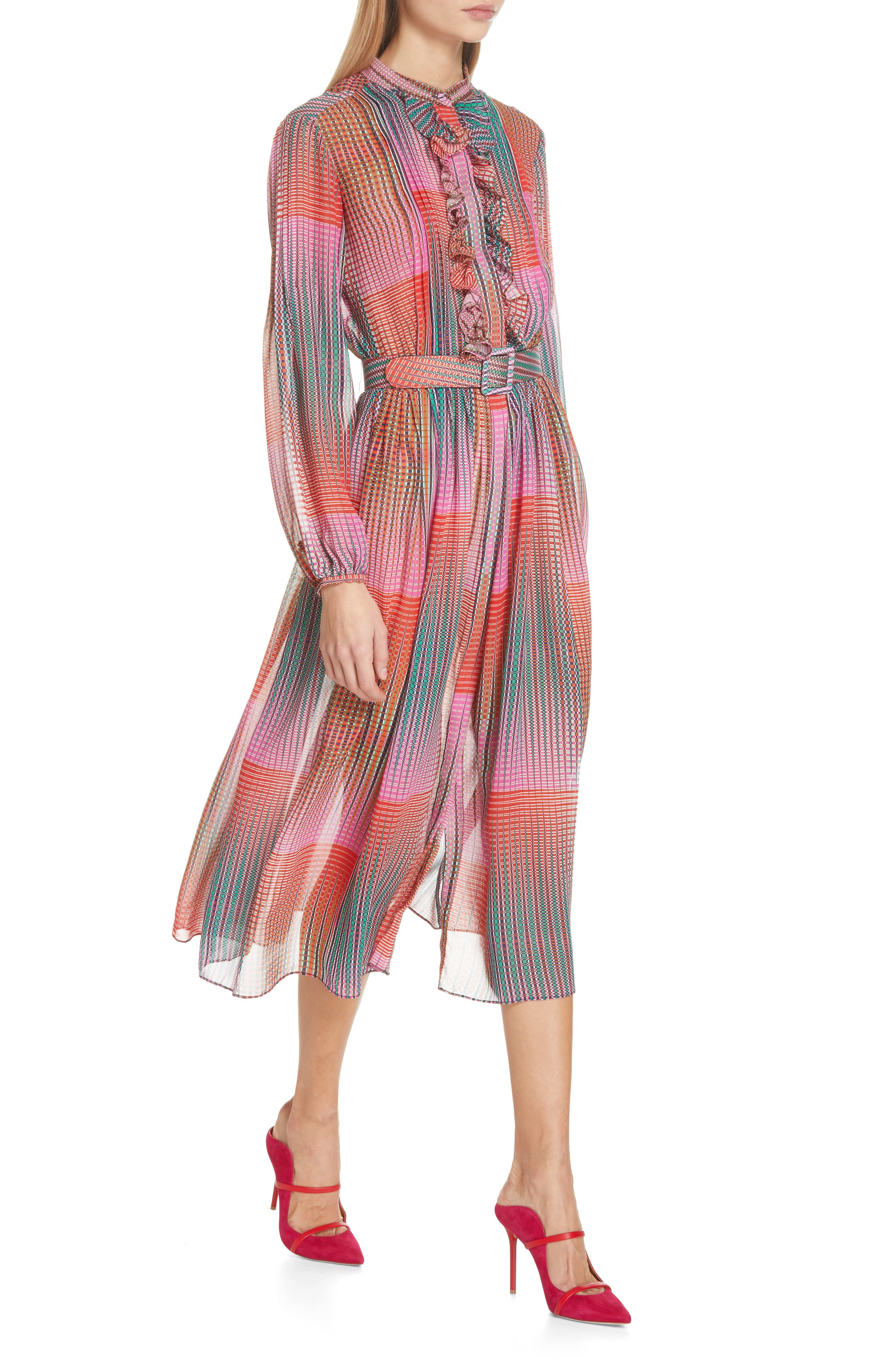 SALONI, Raquel Belted Silk Midi Dress, Alternate thumbnail 4, color, EMERALD ILLUSION