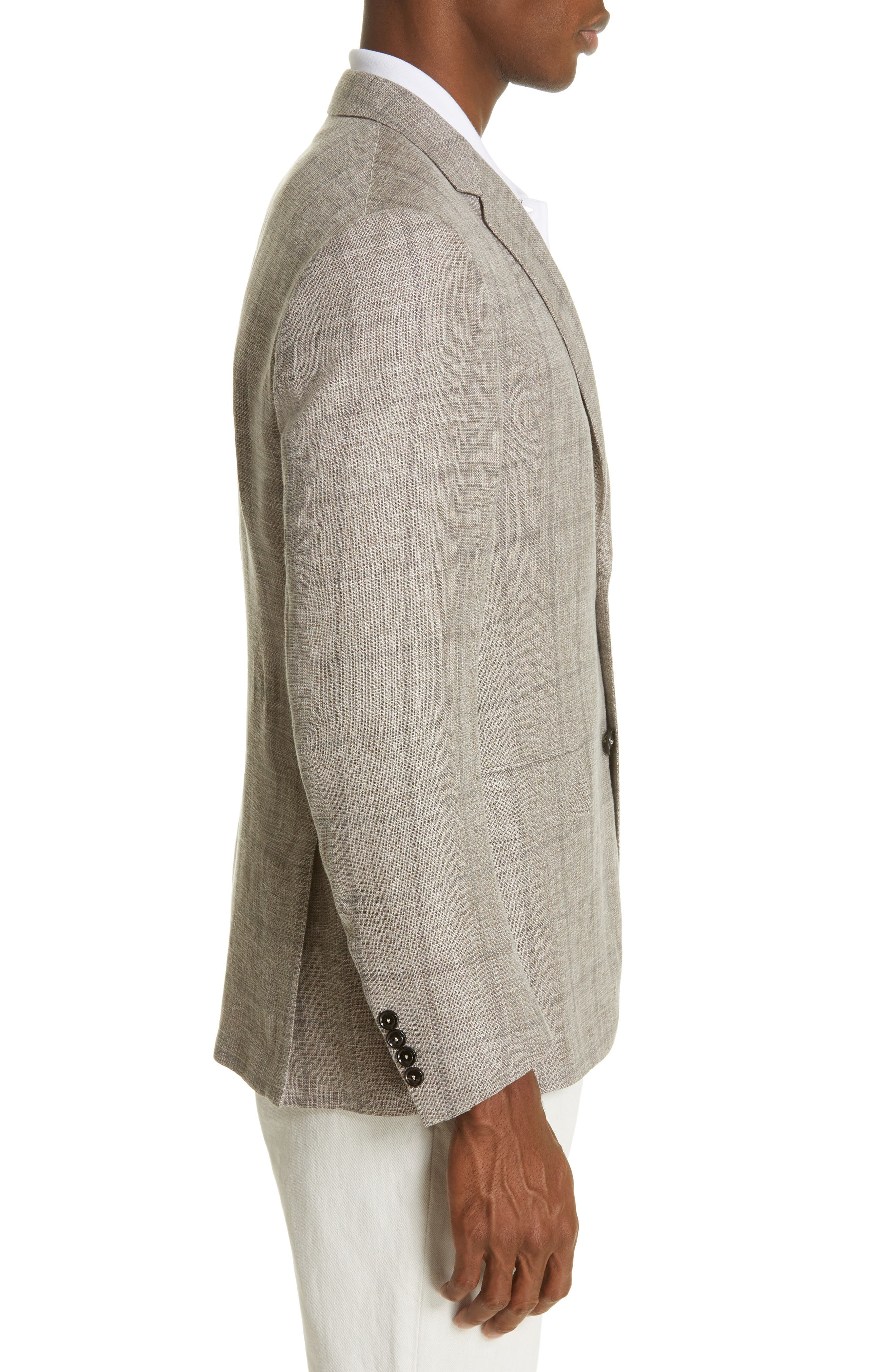 ERMENEGILDO ZEGNA, Milano Classic Fit Windowpane Linen Blend Sport Coat, Alternate thumbnail 3, color, TAN