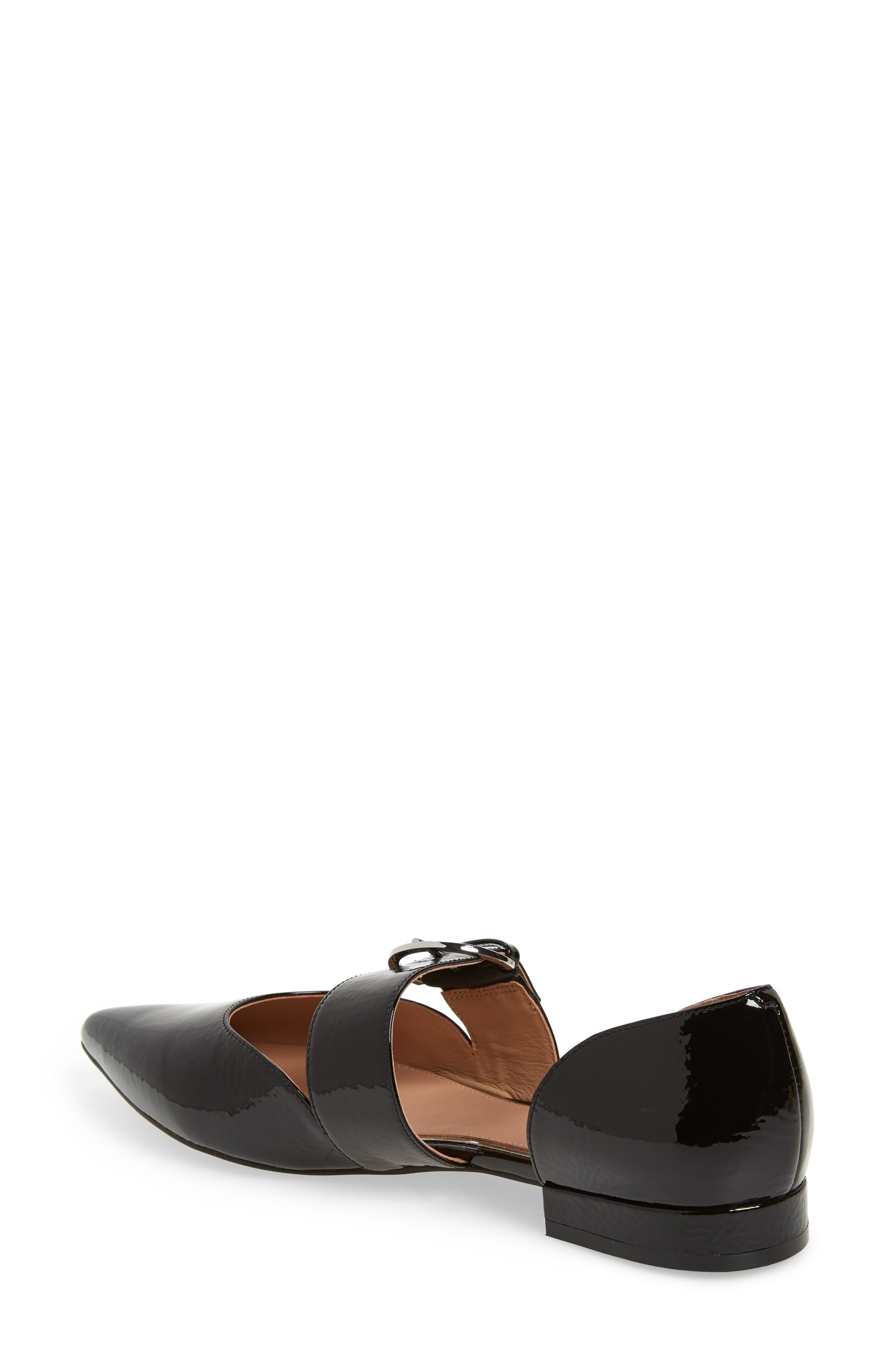 LINEA PAOLO, Dean Pointy Toe Flat, Alternate thumbnail 2, color, BLACK WRINKLE PATENT