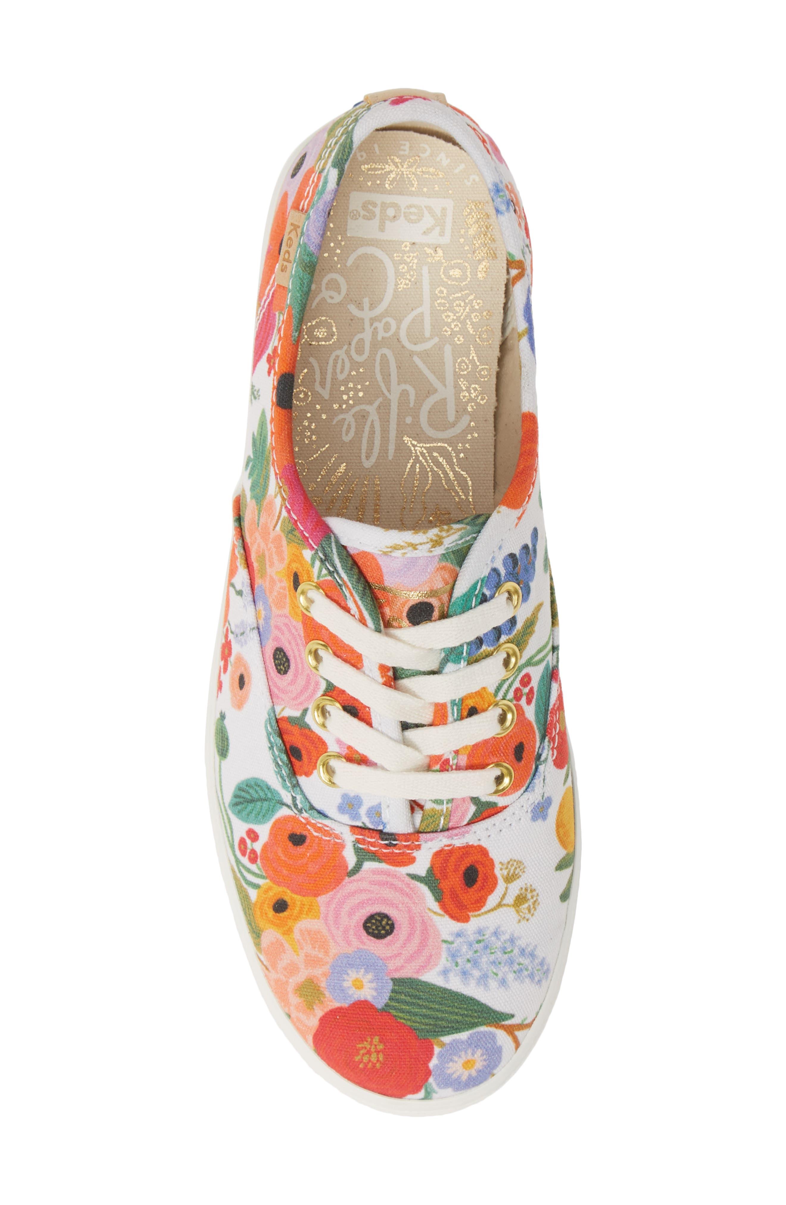 KEDS<SUP>®</SUP>, x Rifle Paper Co. Floral Print Champion Sneaker, Alternate thumbnail 5, color, GARDEN PARTY