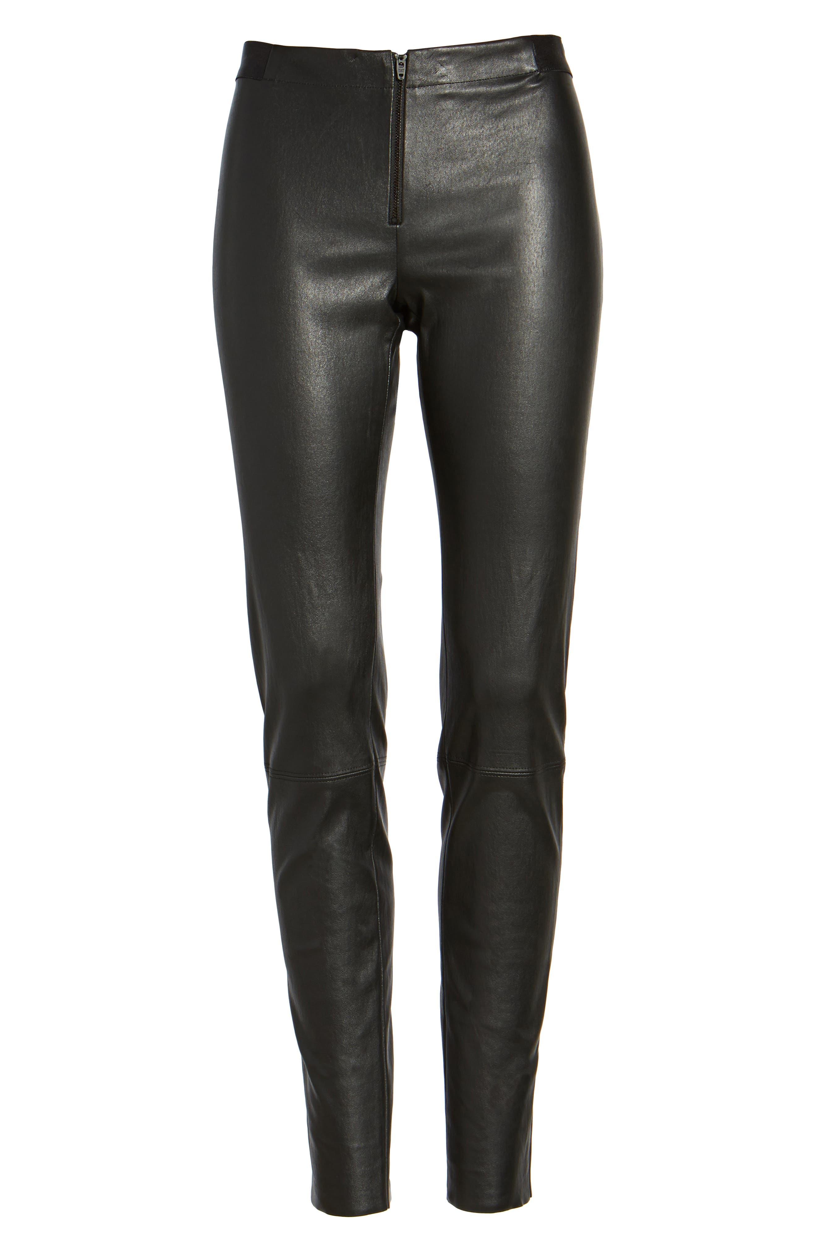 ALICE + OLIVIA, Leather Leggings, Alternate thumbnail 7, color, BLACK
