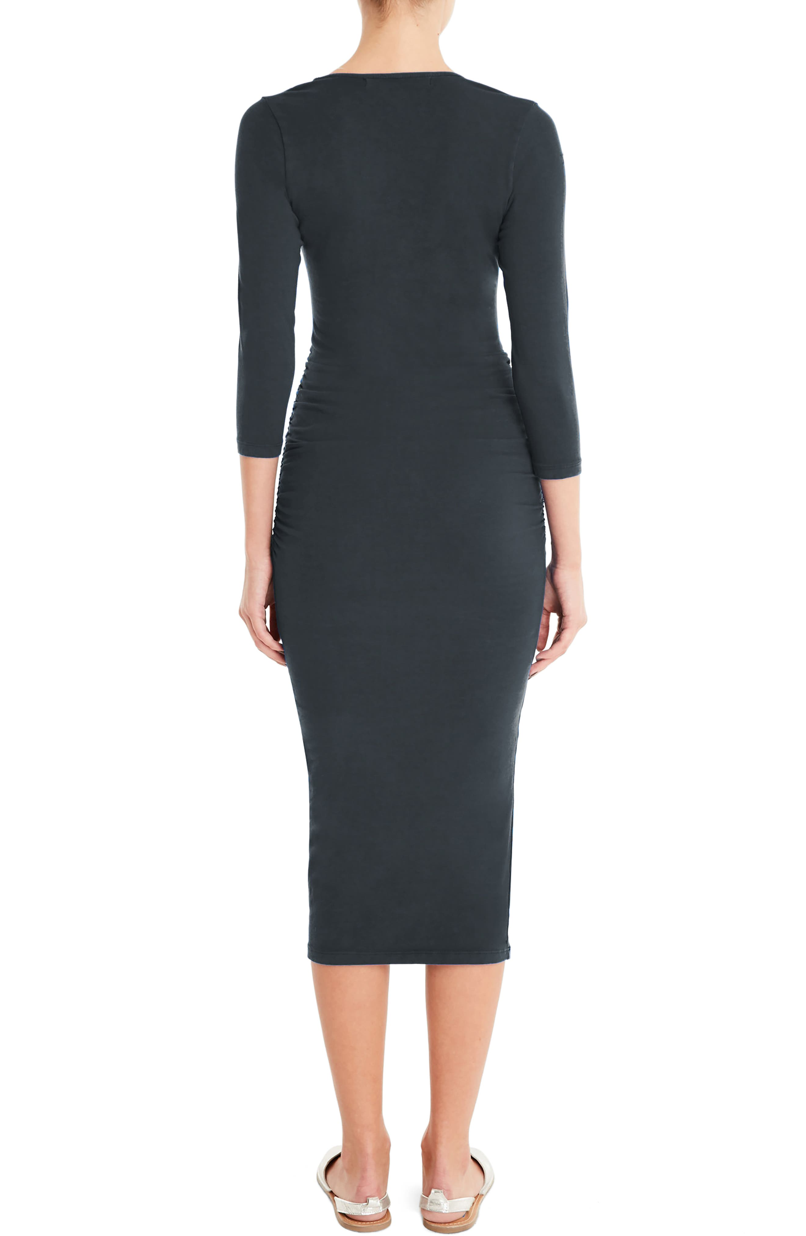 MICHAEL STARS, Ruched Midi Dress, Alternate thumbnail 2, color, OXIDE