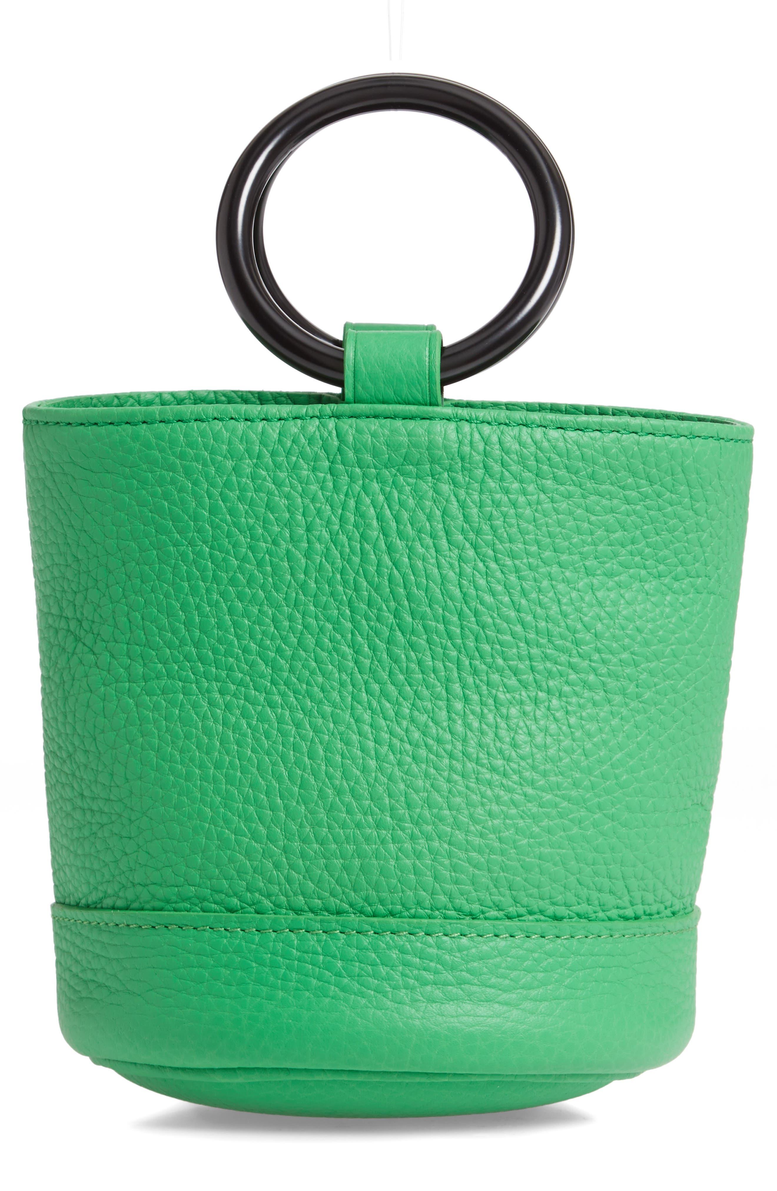 SIMON MILLER, Bonsai 15 Calfskin Leather Bucket Bag, Alternate thumbnail 3, color, NEON GREEN