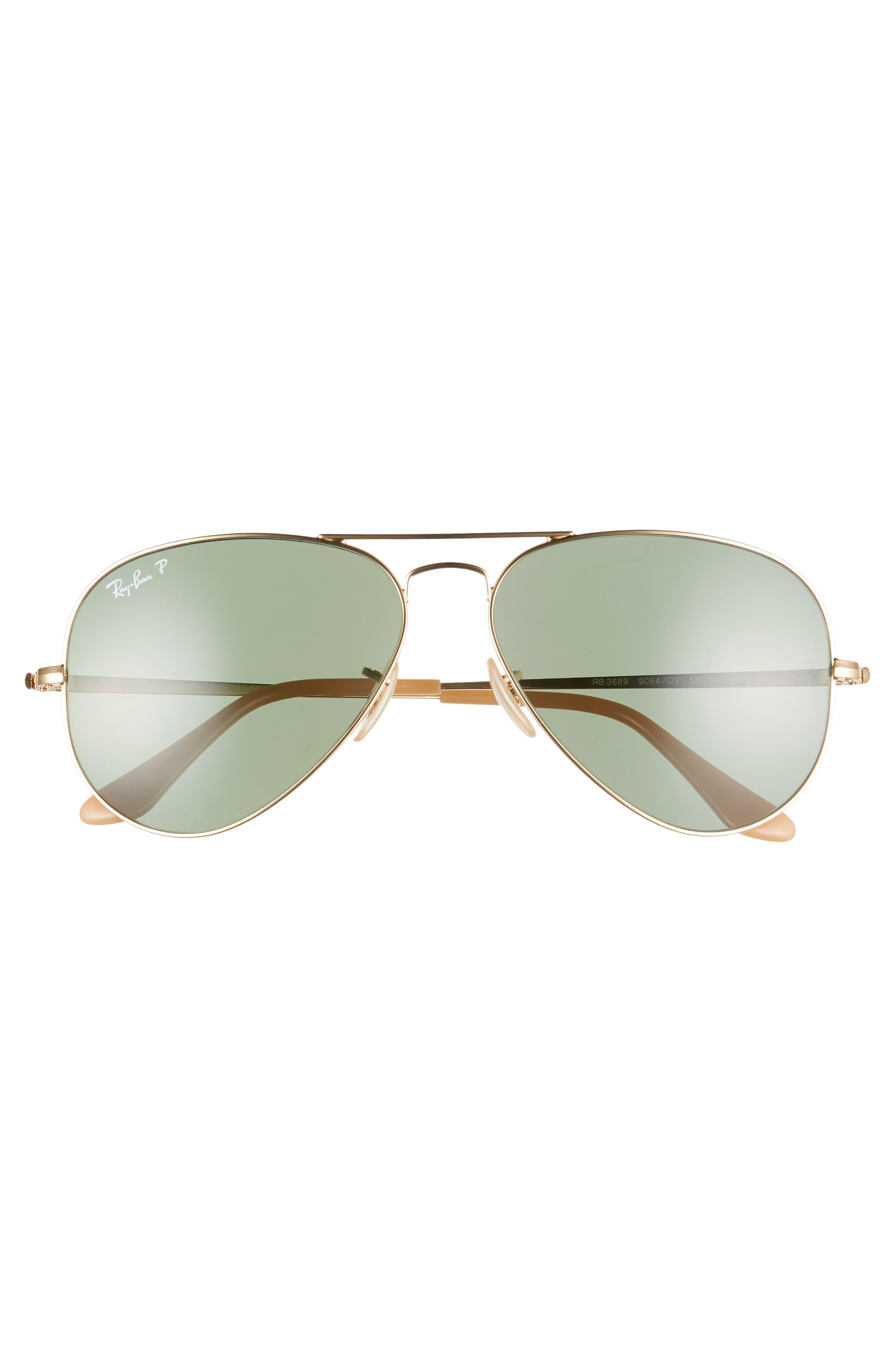 RAY-BAN, 58mm Polarized Aviator Sunglasses, Alternate thumbnail 3, color, GOLD/ GREEN SOLID