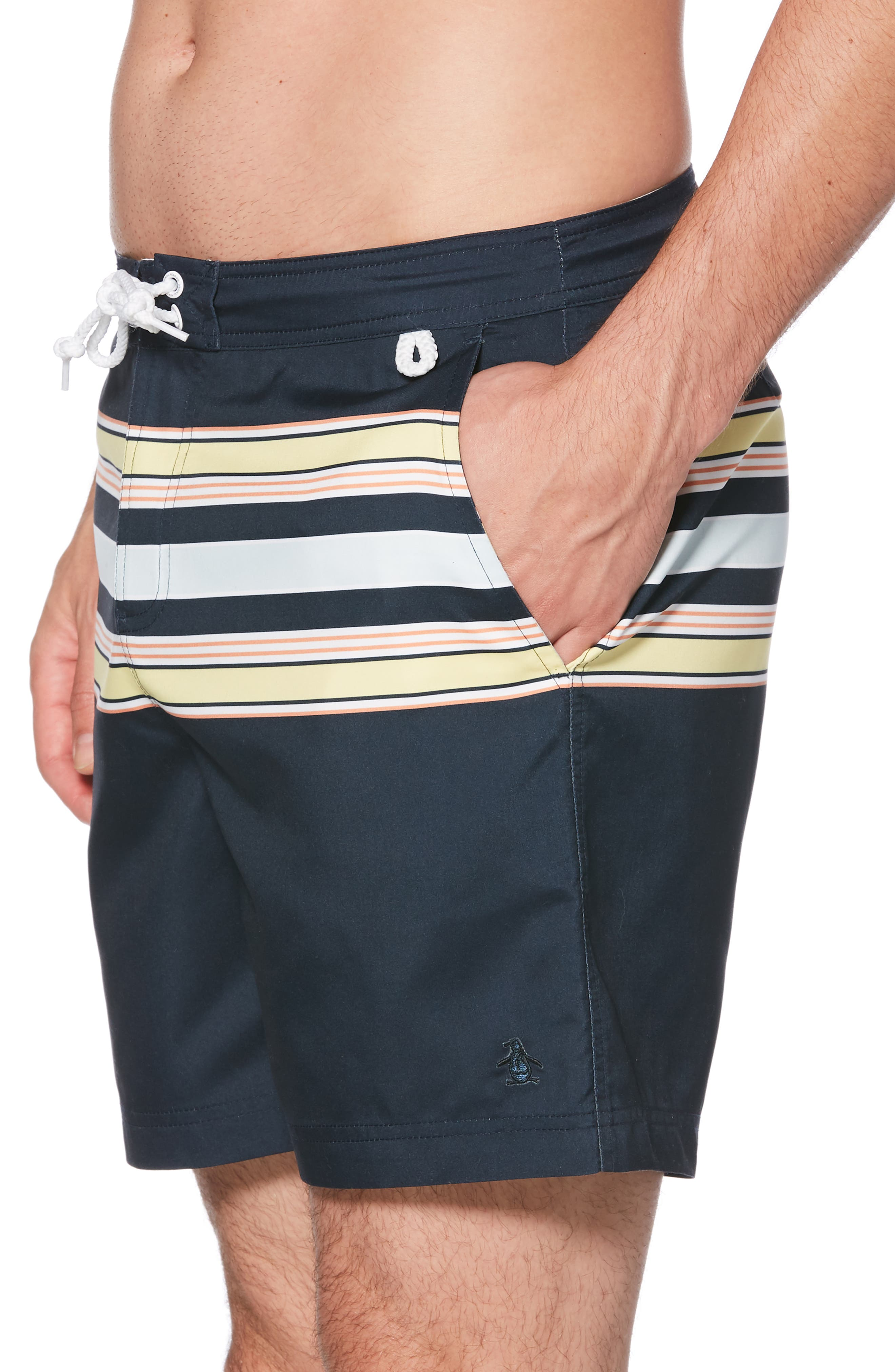 ORIGINAL PENGUIN, Retro Stripe Swim Trunks, Alternate thumbnail 3, color, DARK SAPPHIRE