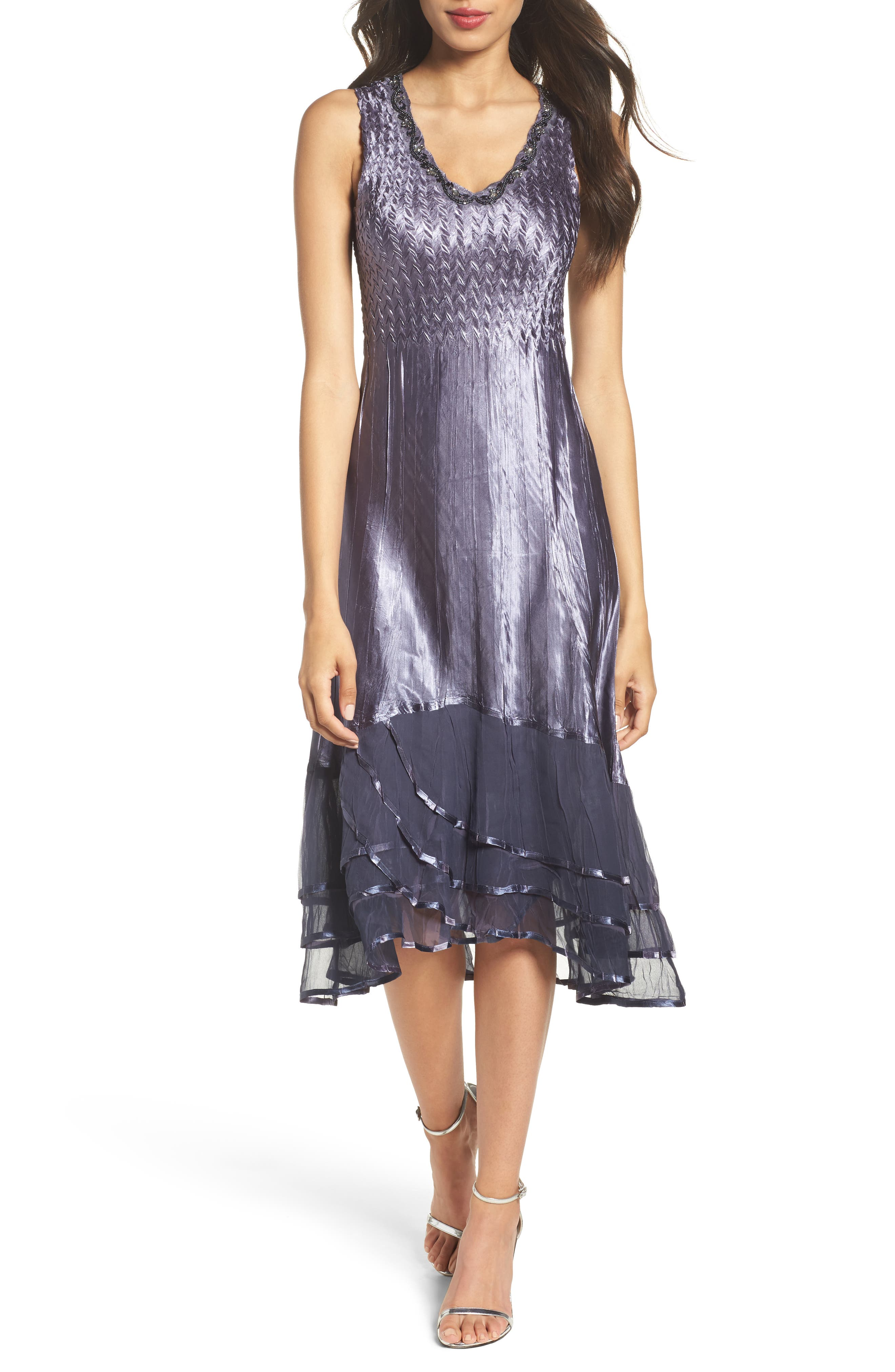 KOMAROV, Embellished Charmeuse Dress & Chiffon Jacket, Alternate thumbnail 4, color, 454