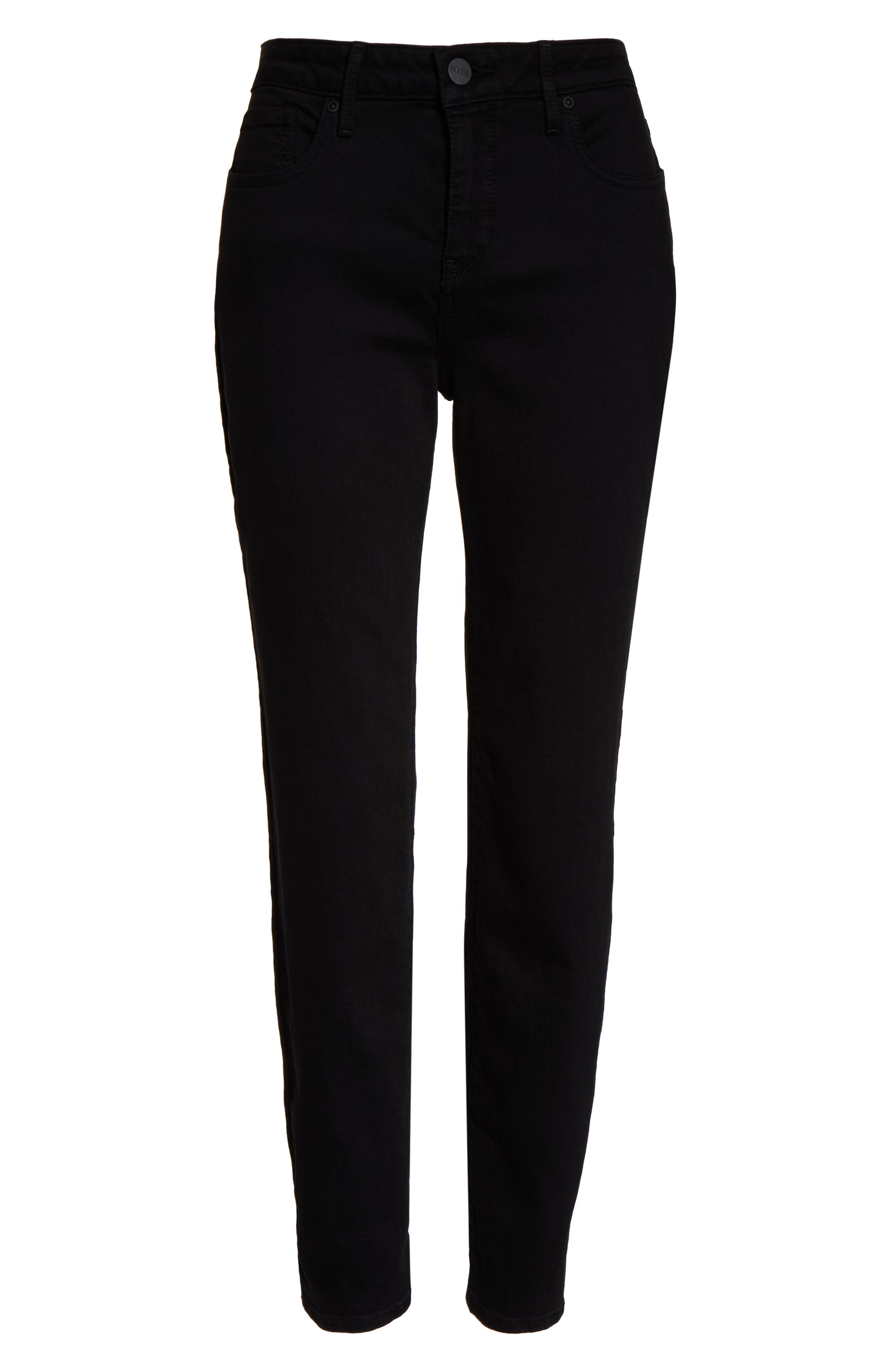 CURVES 360 BY NYDJ, Slim Straight Leg Ankle Jeans, Alternate thumbnail 5, color, BLACK