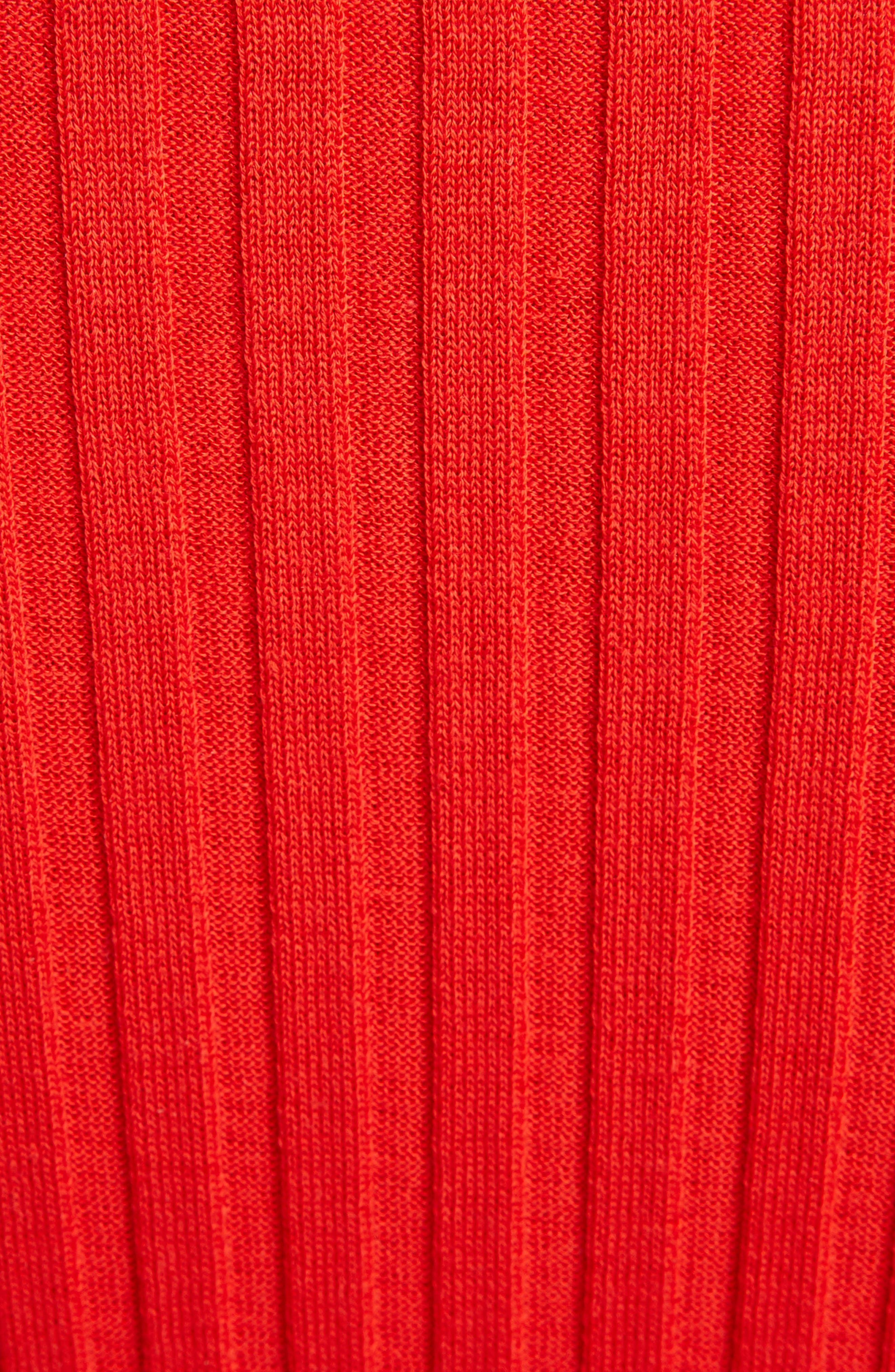 VICTORIA BECKHAM, Gathered Sleeve Rib Knit Turtleneck Sweater, Alternate thumbnail 5, color, BRIGHT RED