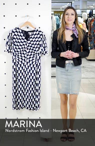 V-Neck Print Crepe Dress, sales video thumbnail