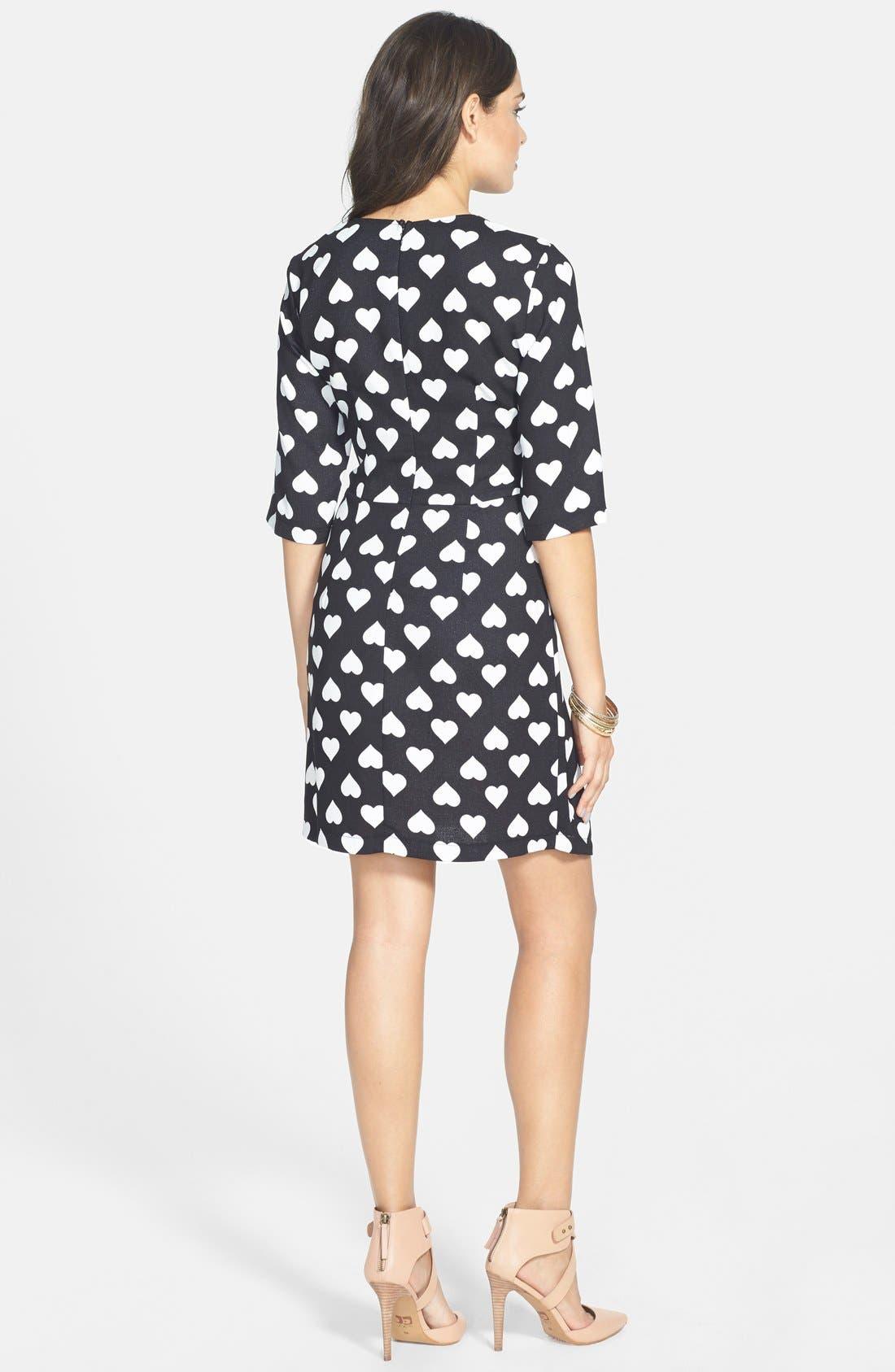 POPPY LUX, 'Nancy' Heart Print Asymmetrical Dress, Alternate thumbnail 2, color, 001