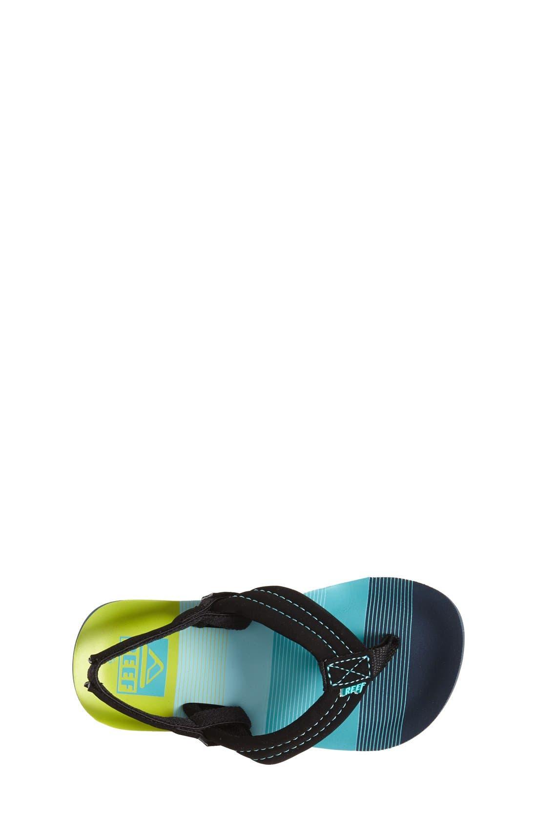 REEF, 'Ahi - Stripes' Sandal, Alternate thumbnail 4, color, AQUA/ GREEN