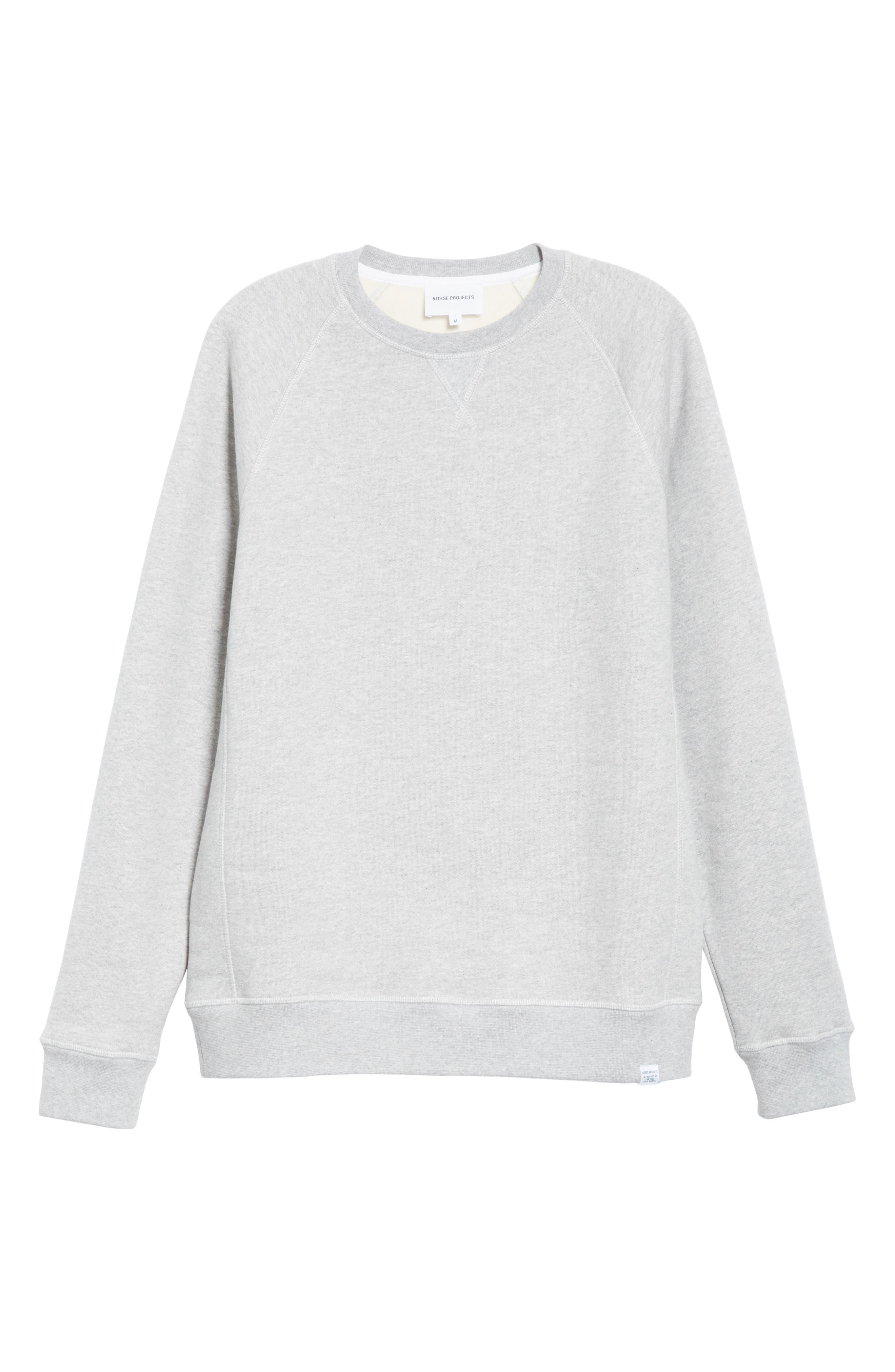 NORSE PROJECTS, Ketel Raglan Sweatshirt, Alternate thumbnail 6, color, LIGHT GREY MELANGE
