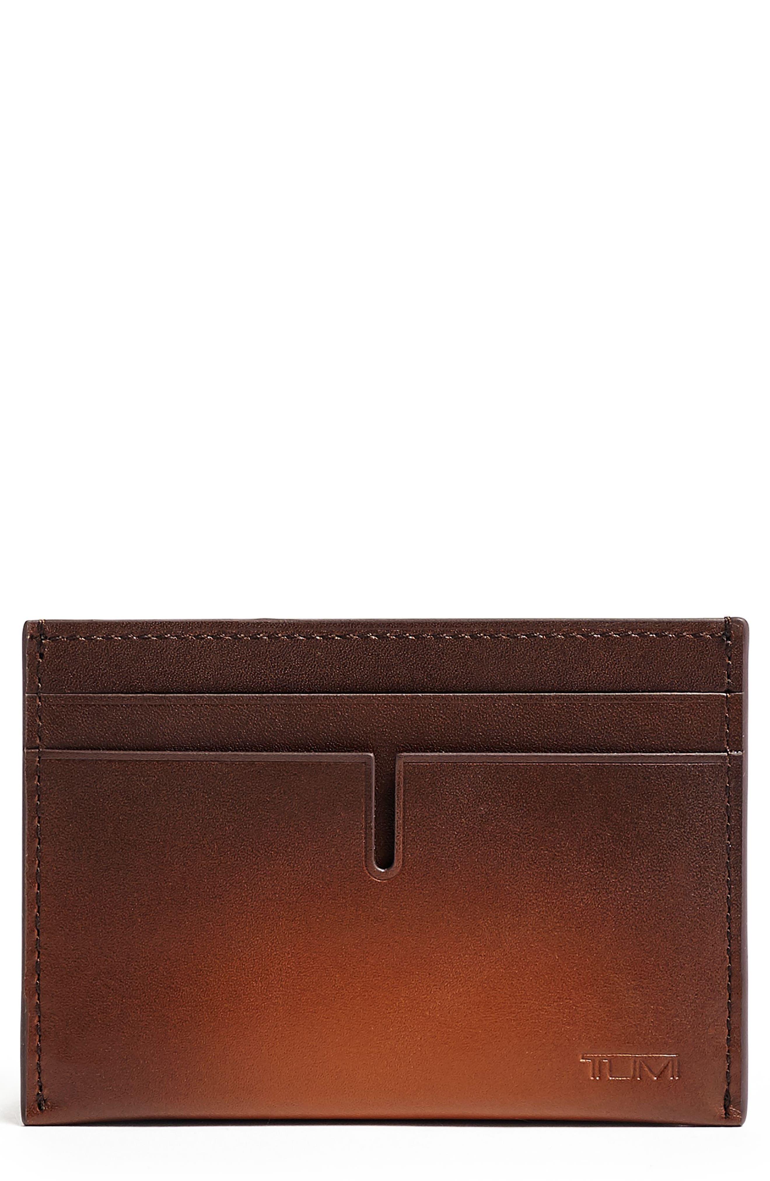 TUMI Nassau RFID Leather Card Case, Main, color, WHISKEY BURNISHED