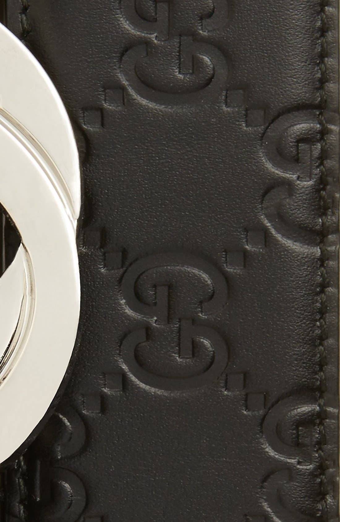 GUCCI, Logo Embossed Leather Belt, Alternate thumbnail 2, color, BLACK