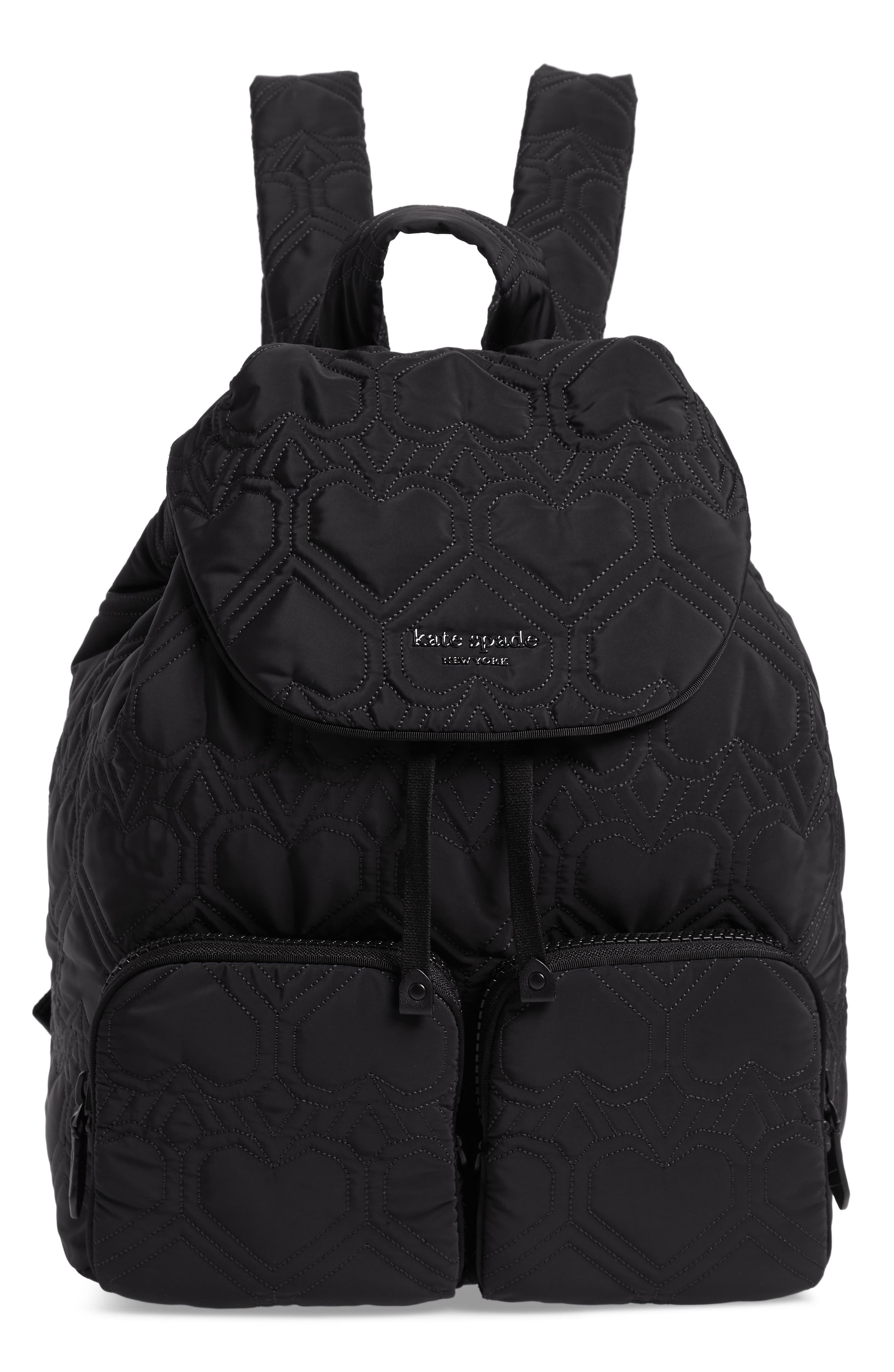 KATE SPADE NEW YORK large jayne quilted nylon backpack, Main, color, BLACK