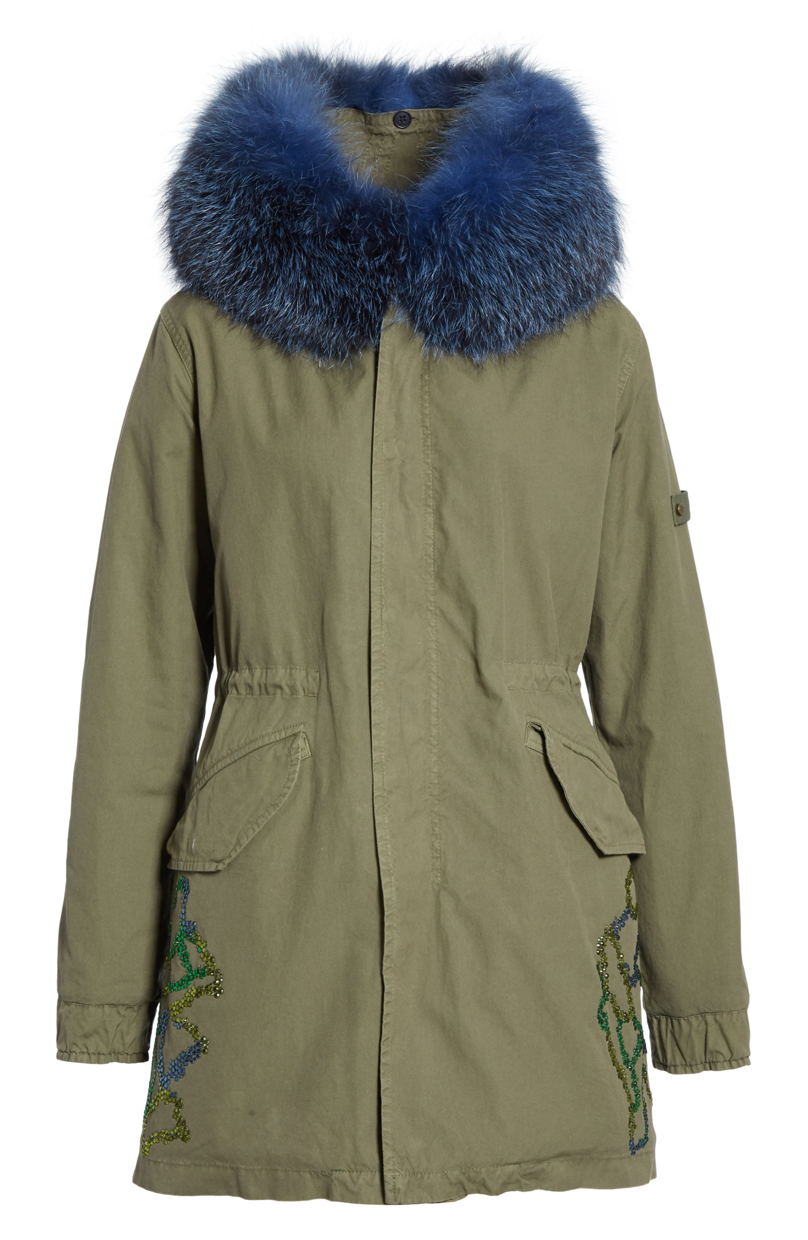 MR & MRS ITALY, Crystal Embellished Parka with Removable Genuine Fox Fur Trim, Alternate thumbnail 6, color, ARMY