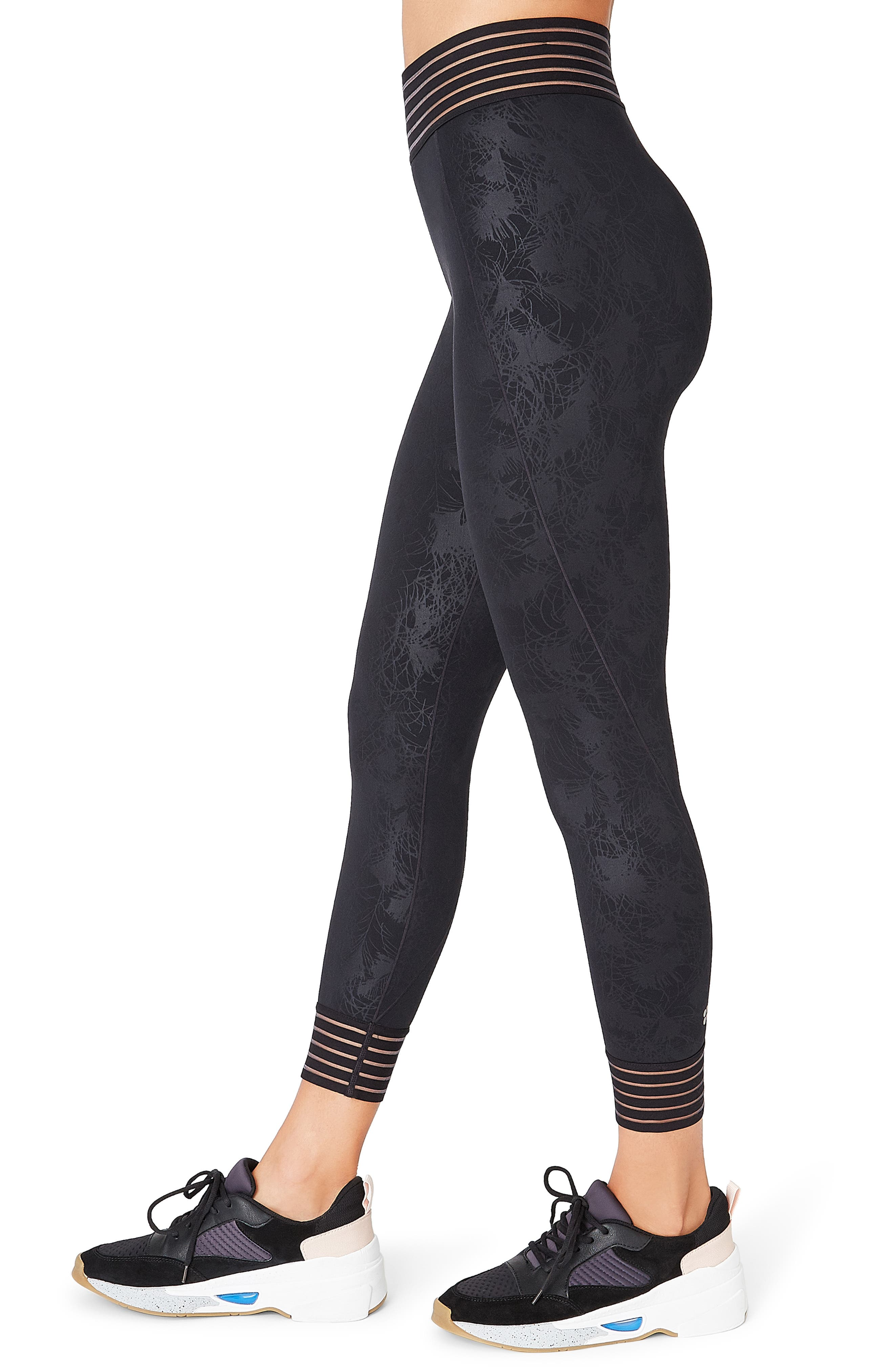 SWEATY BETTY, Contour Leggings, Alternate thumbnail 4, color, BLACK EMBOSSED FEATHER