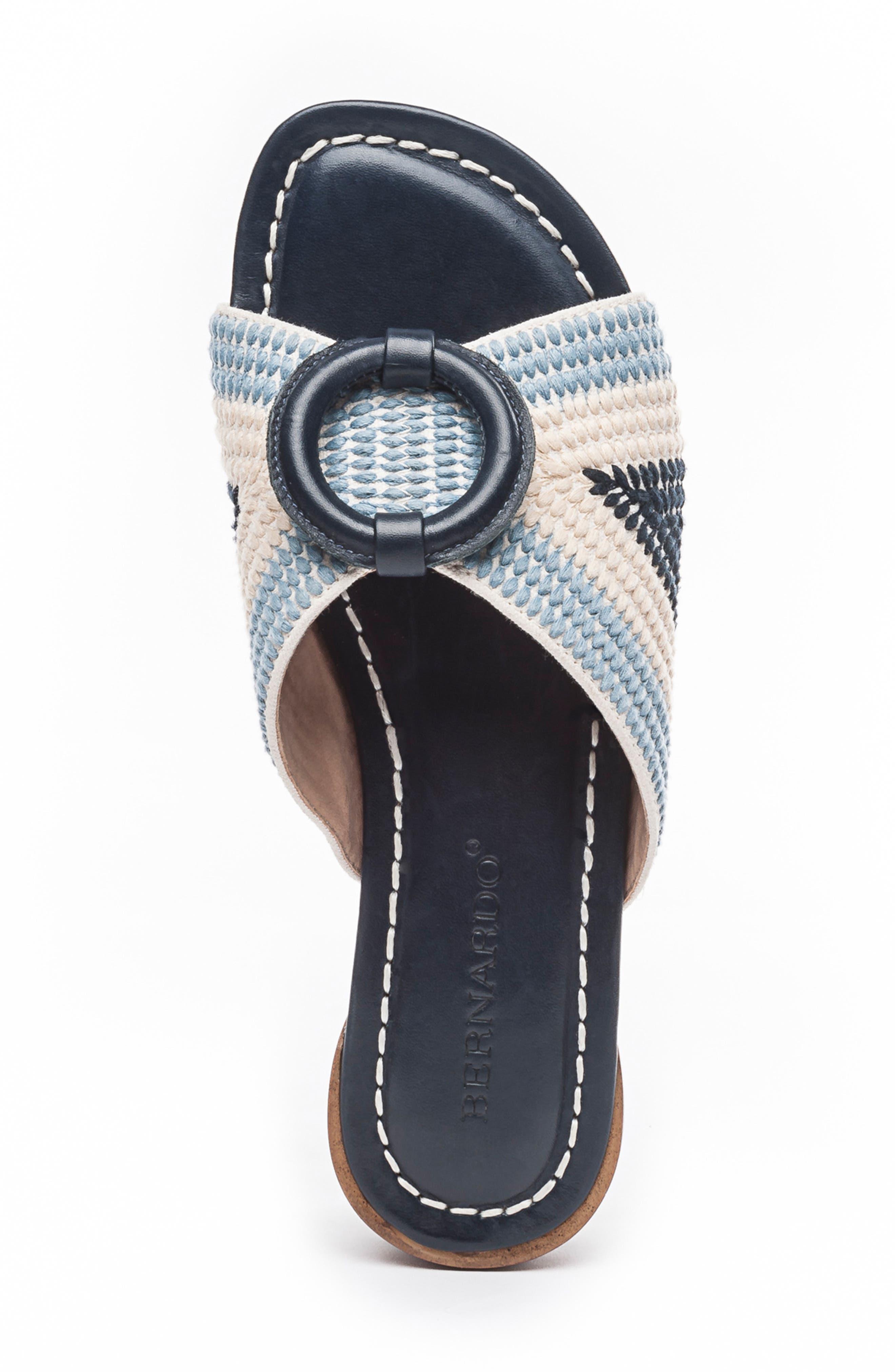 BERNARDO, Footwear Tay Slide Sandal, Alternate thumbnail 5, color, BLUE/ CREAM LEATHER